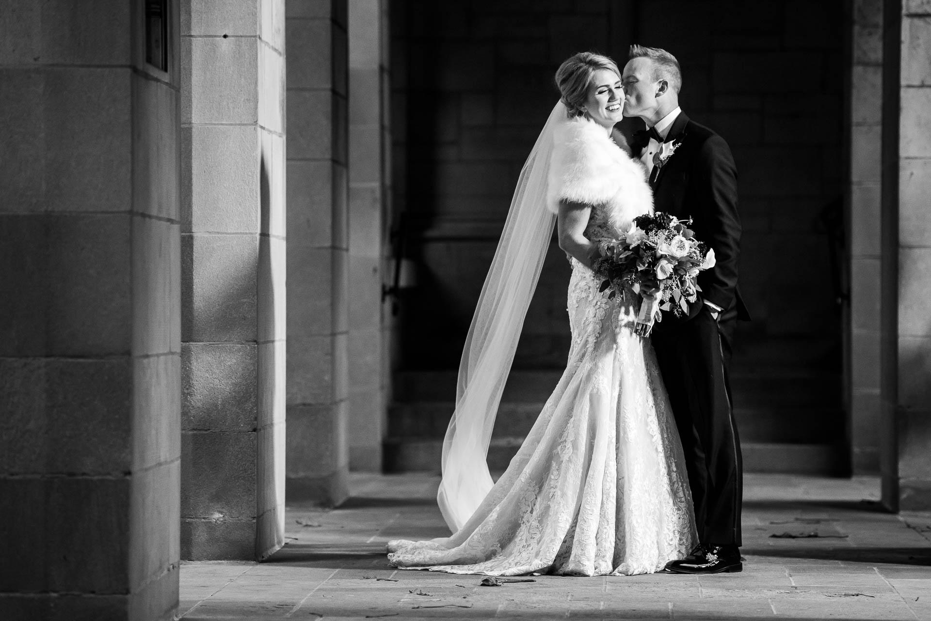 Bride and groom wedding day portrait at Fourth Presbyterian Church in Chicago.