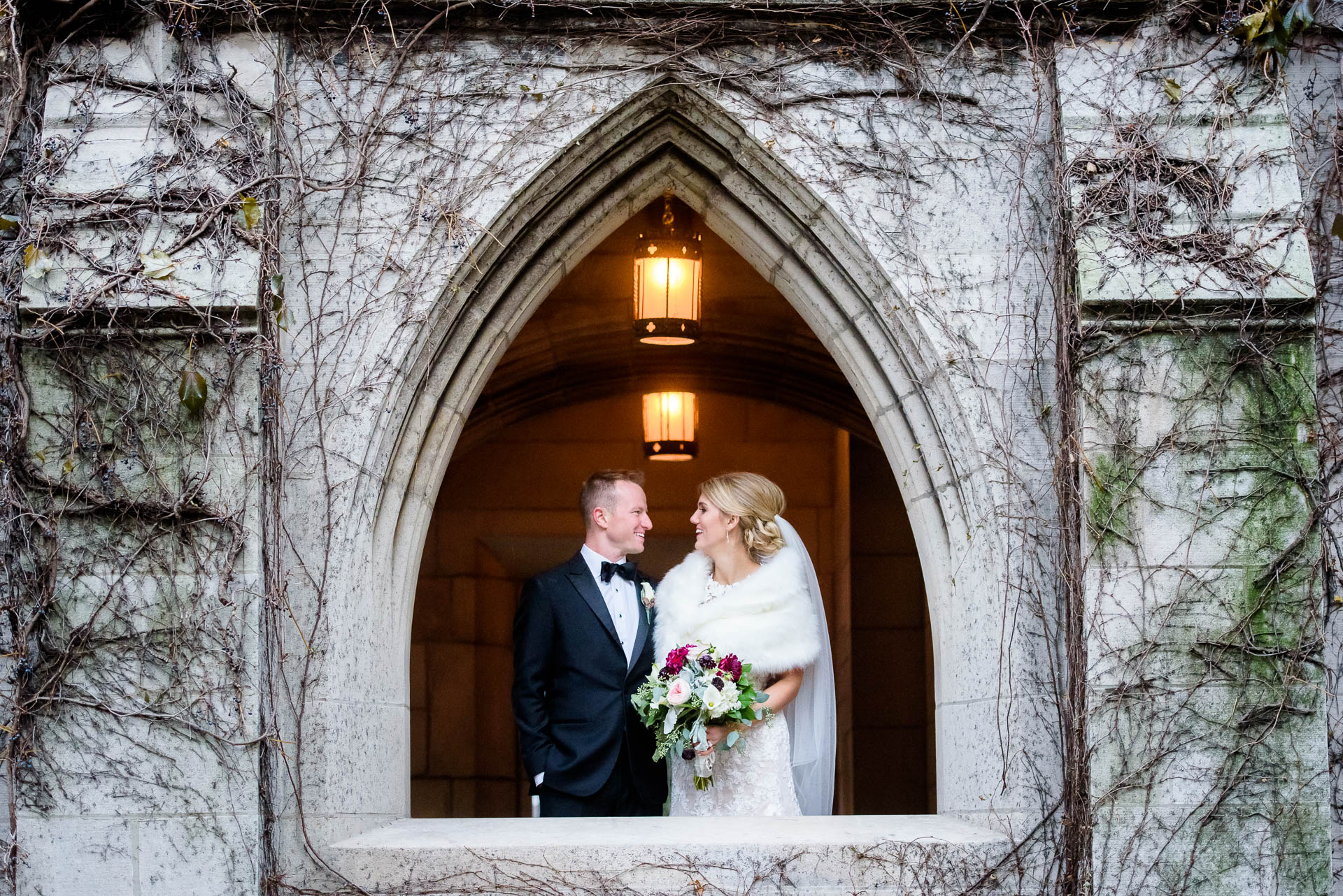 Creative wedding portrait of bride and groom at Fourth Presbyterian Church in Chicago.