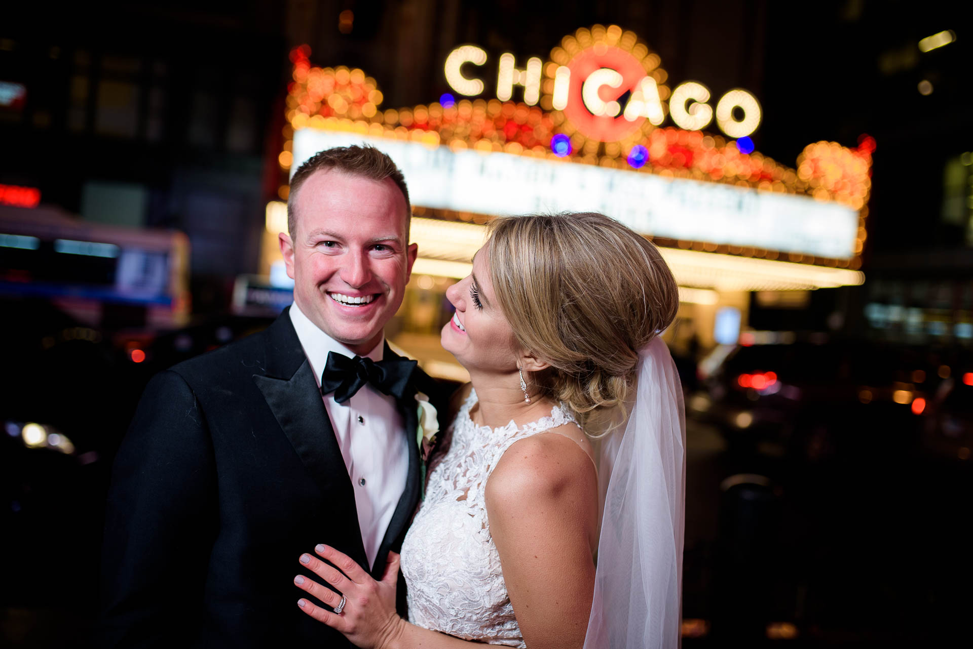 Wedding night portrait at the Chicago Theater.