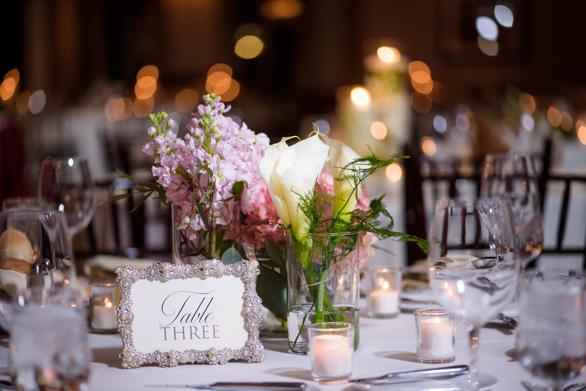 Wedding reception detail photo at the Mid America Club in Chicago.