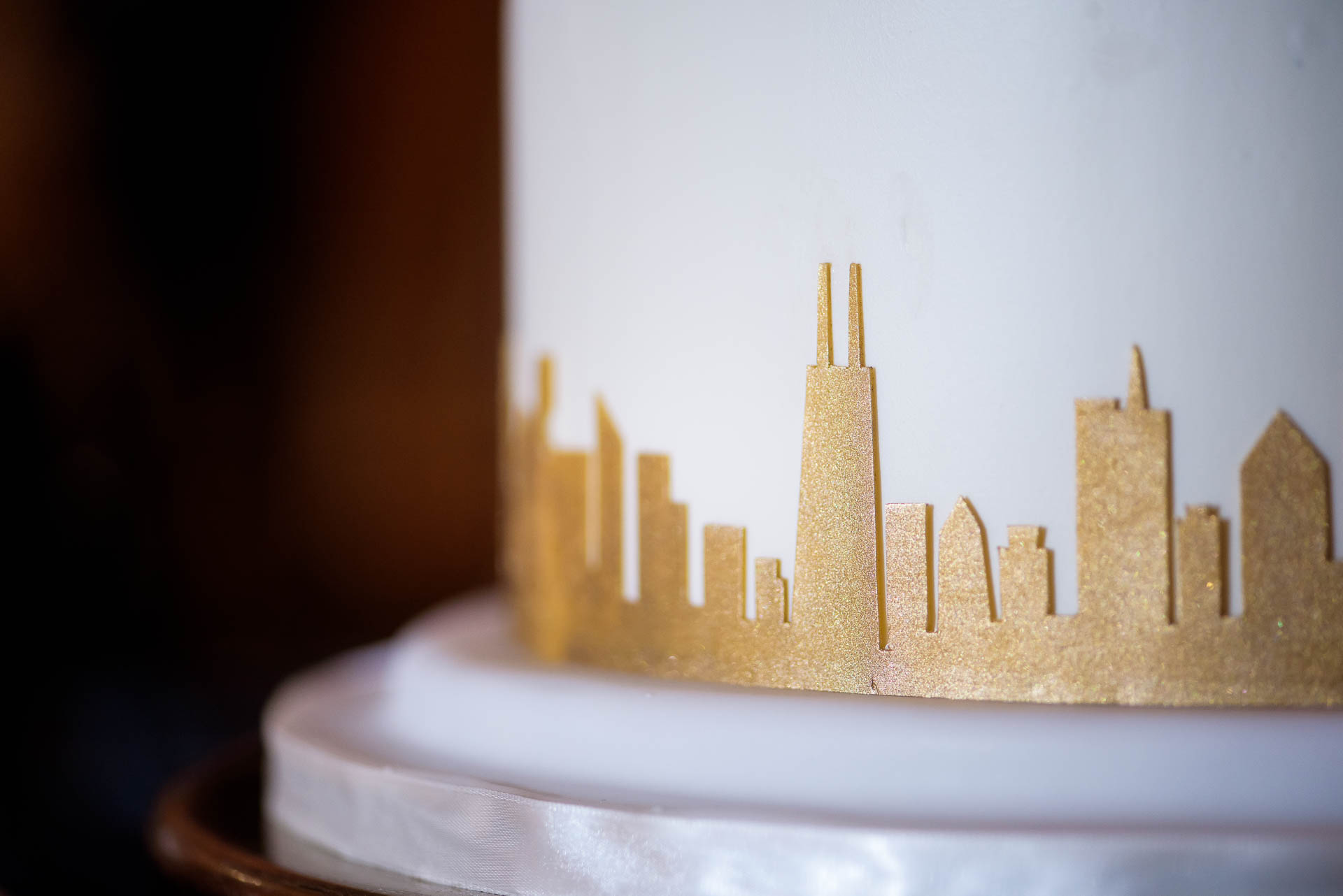 Wedding cake detail photo at the Mid America Club in Chicago.