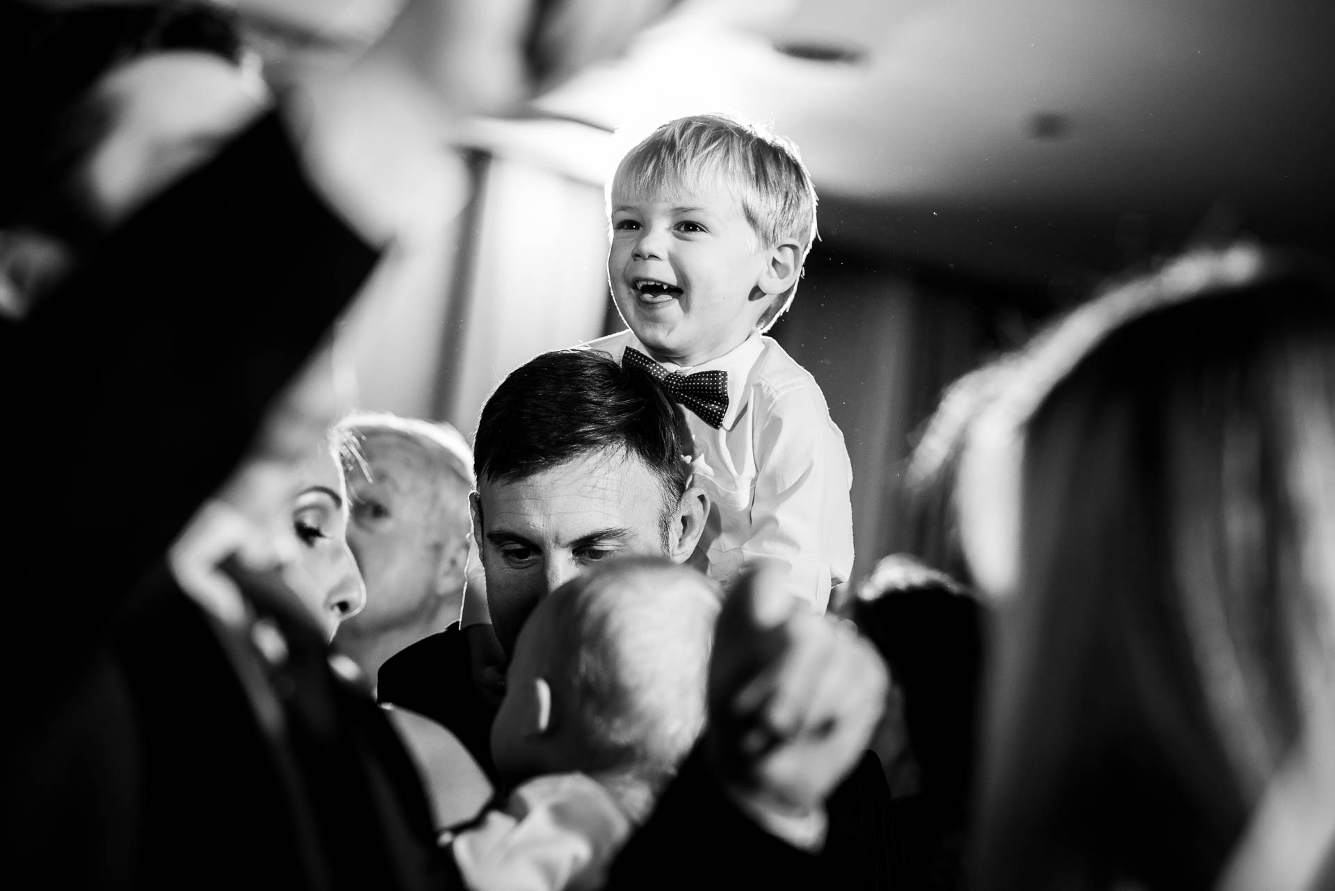 Ring bearer on the dance floor during a wedding reception at the Mid America Club in Chicago.