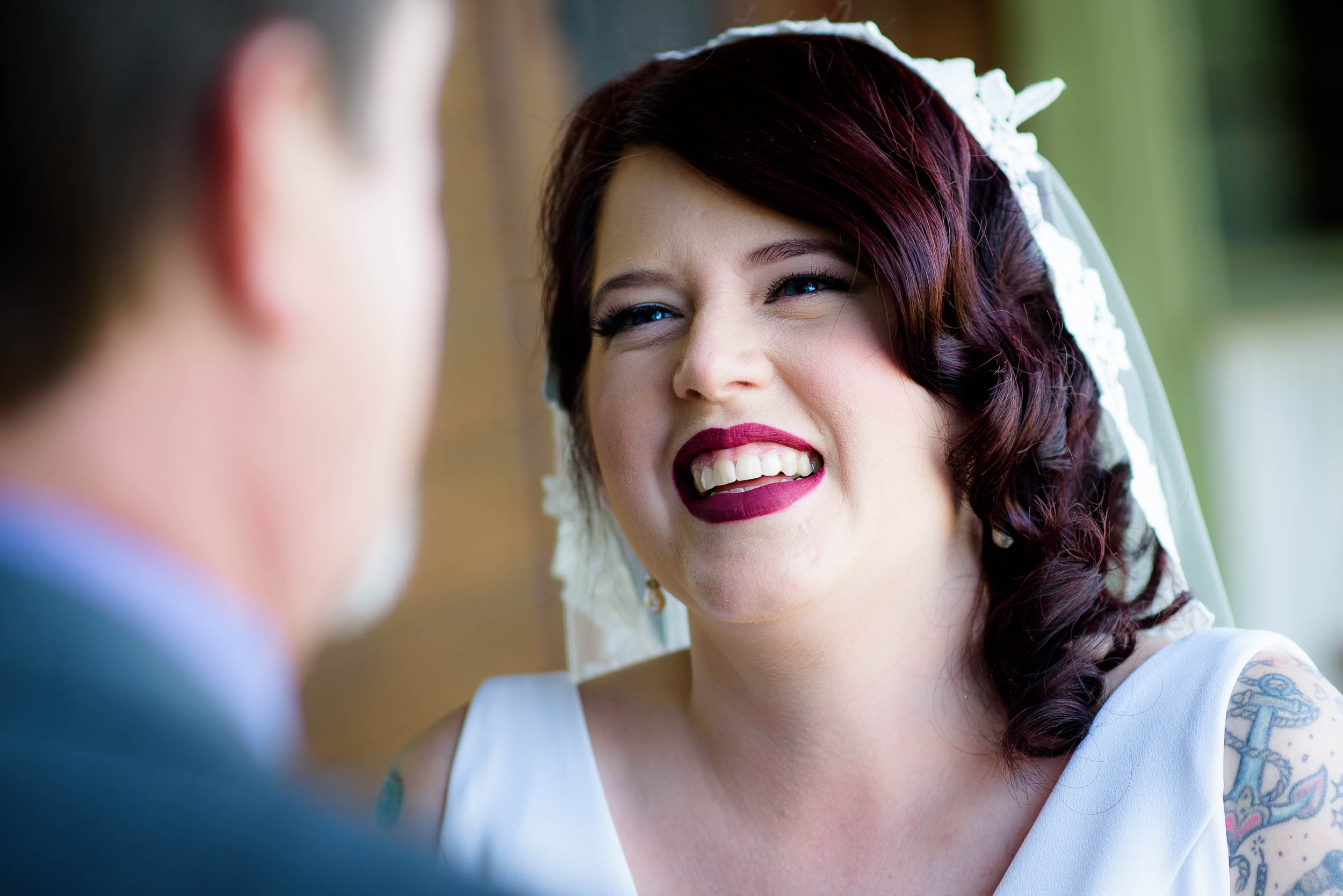 Bride smiles at her father during her Montesino Ranch wedding Austin, Texas.