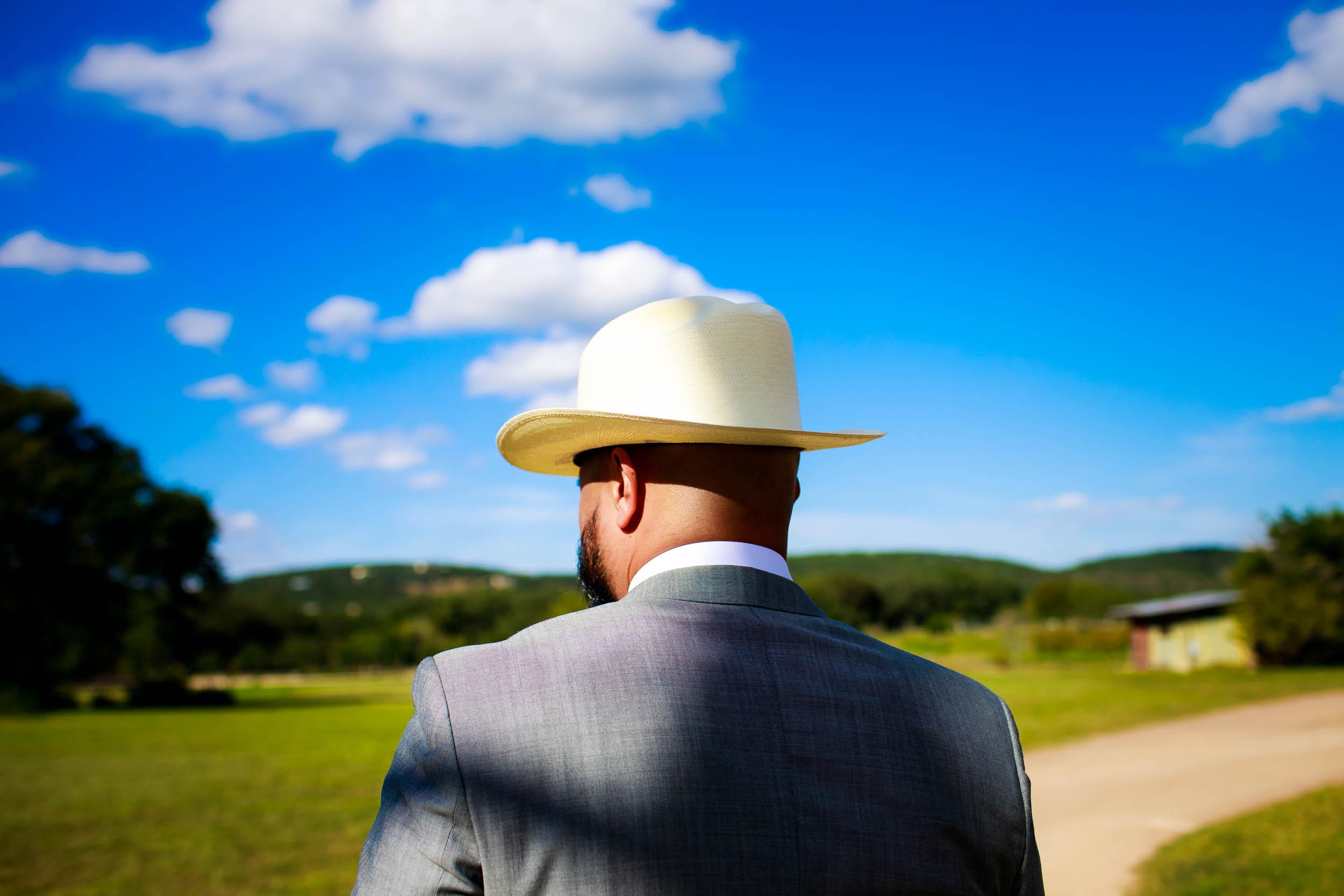 Groom at a Montesino Ranch wedding Austin, Texas.