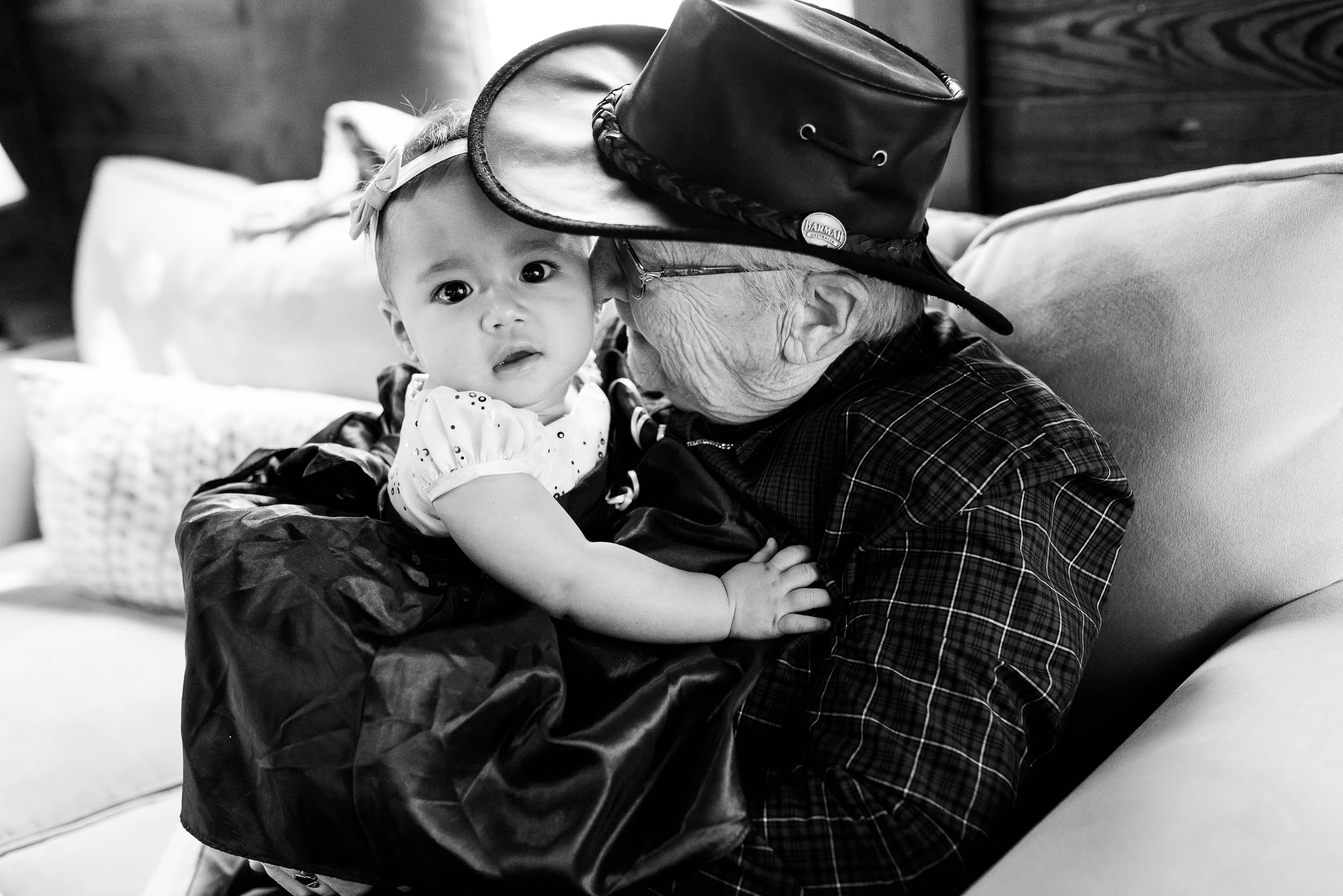 Grandma and flower girl during a Montesino Ranch wedding Austin, Texas.