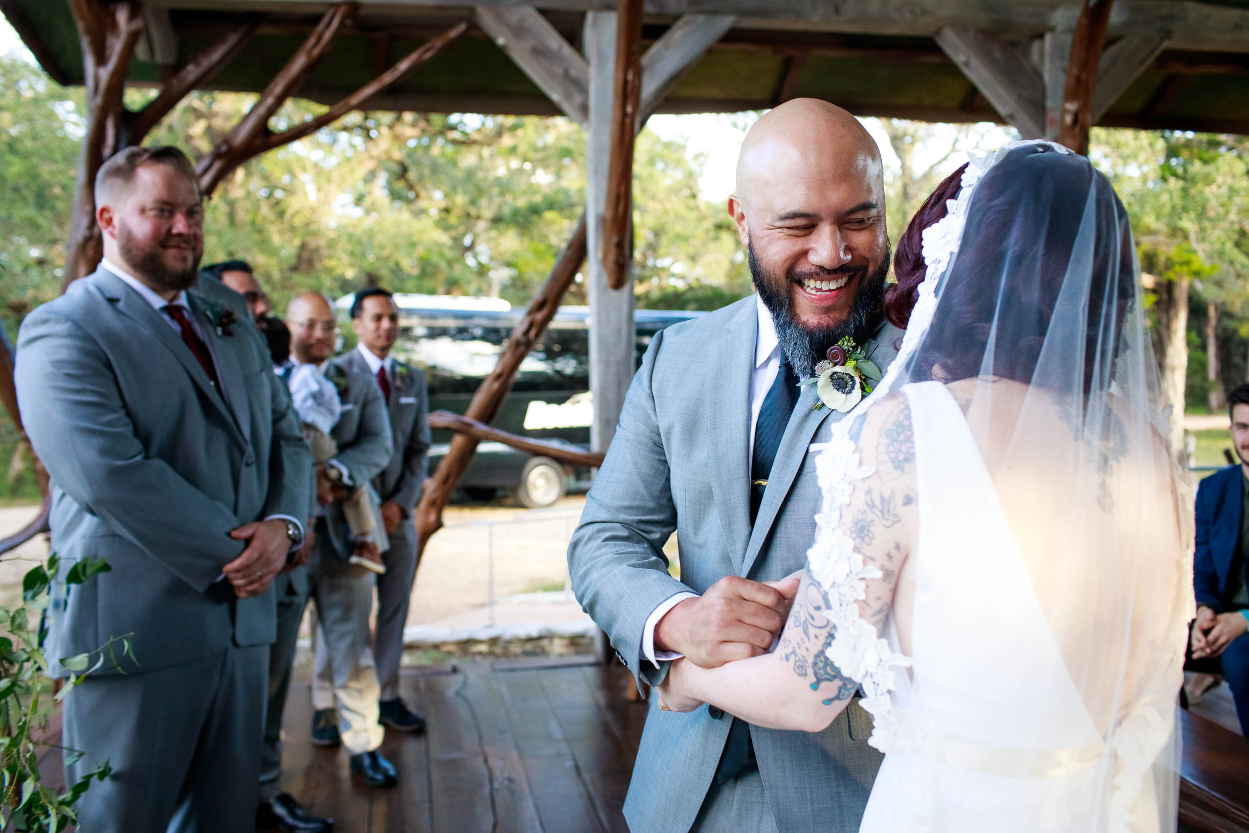 Groom excited to see his bride during a Montesino Ranch wedding Austin, Texas.