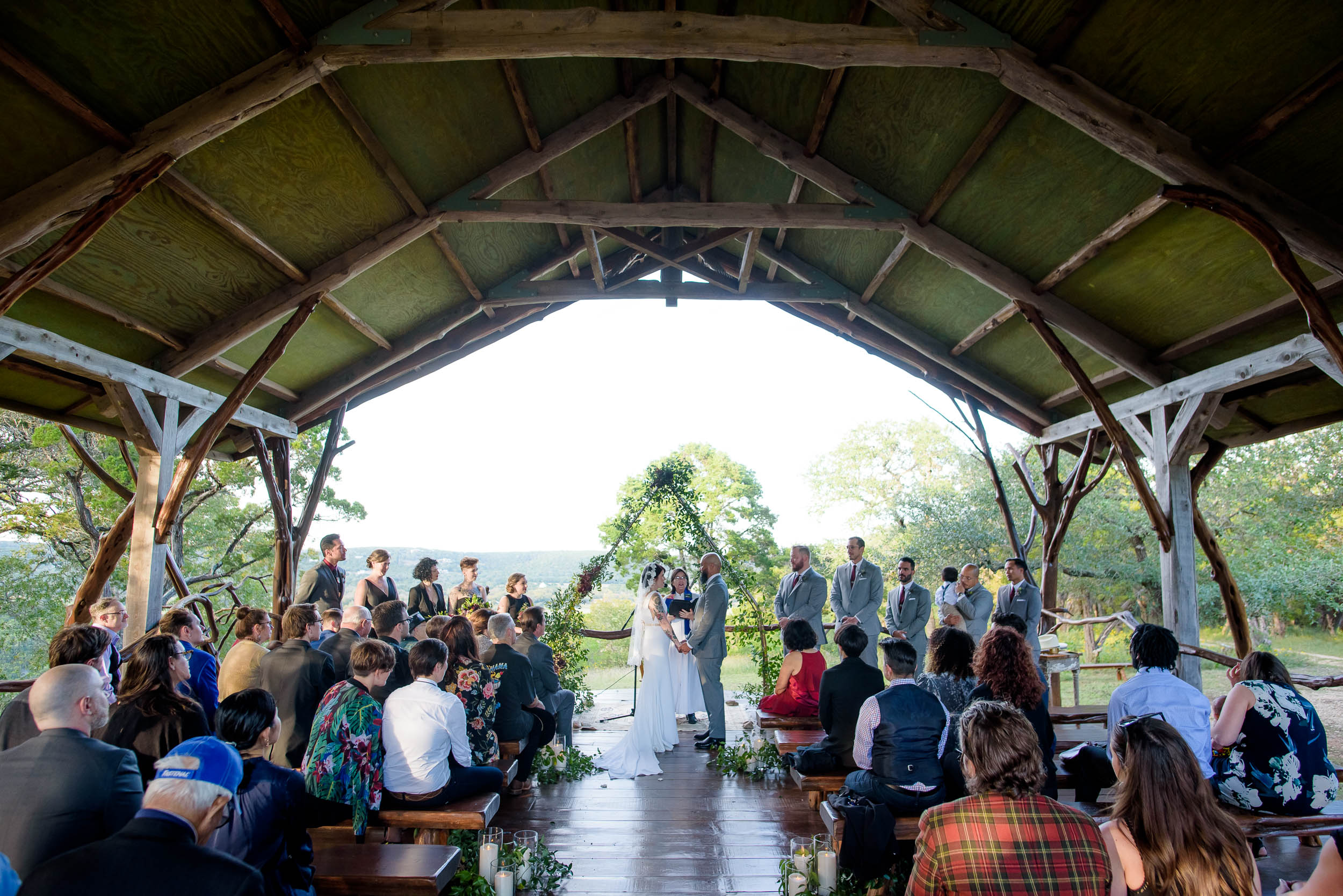 Wedding ceremony at Montesino Ranch wedding Austin, Texas.