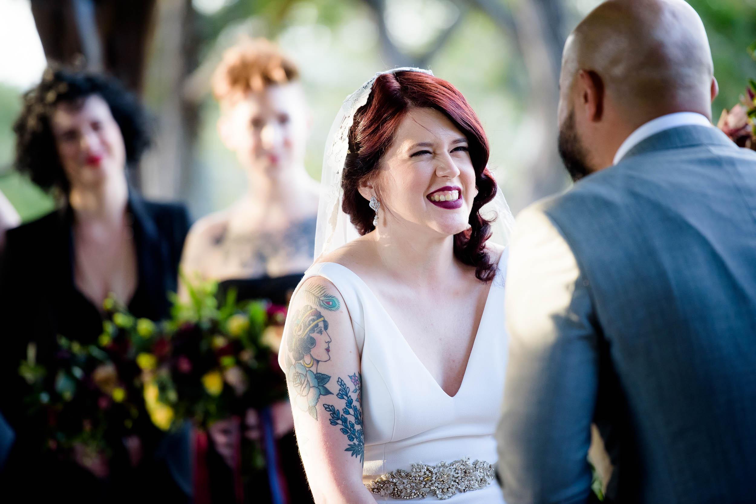 Bride smiles during her Montesino Ranch wedding Austin, Texas.