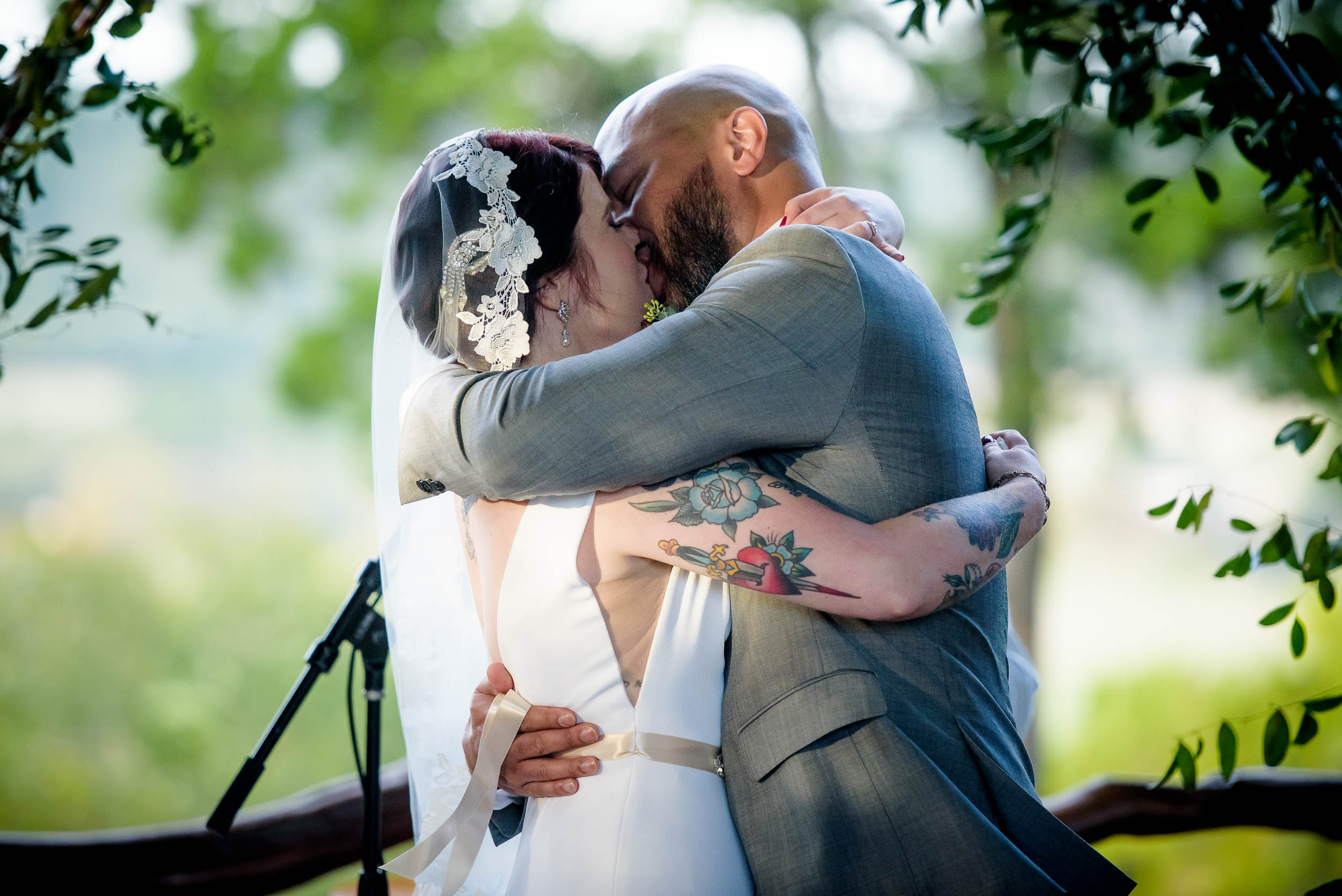 First kiss during a Montesino Ranch wedding Austin, Texas.