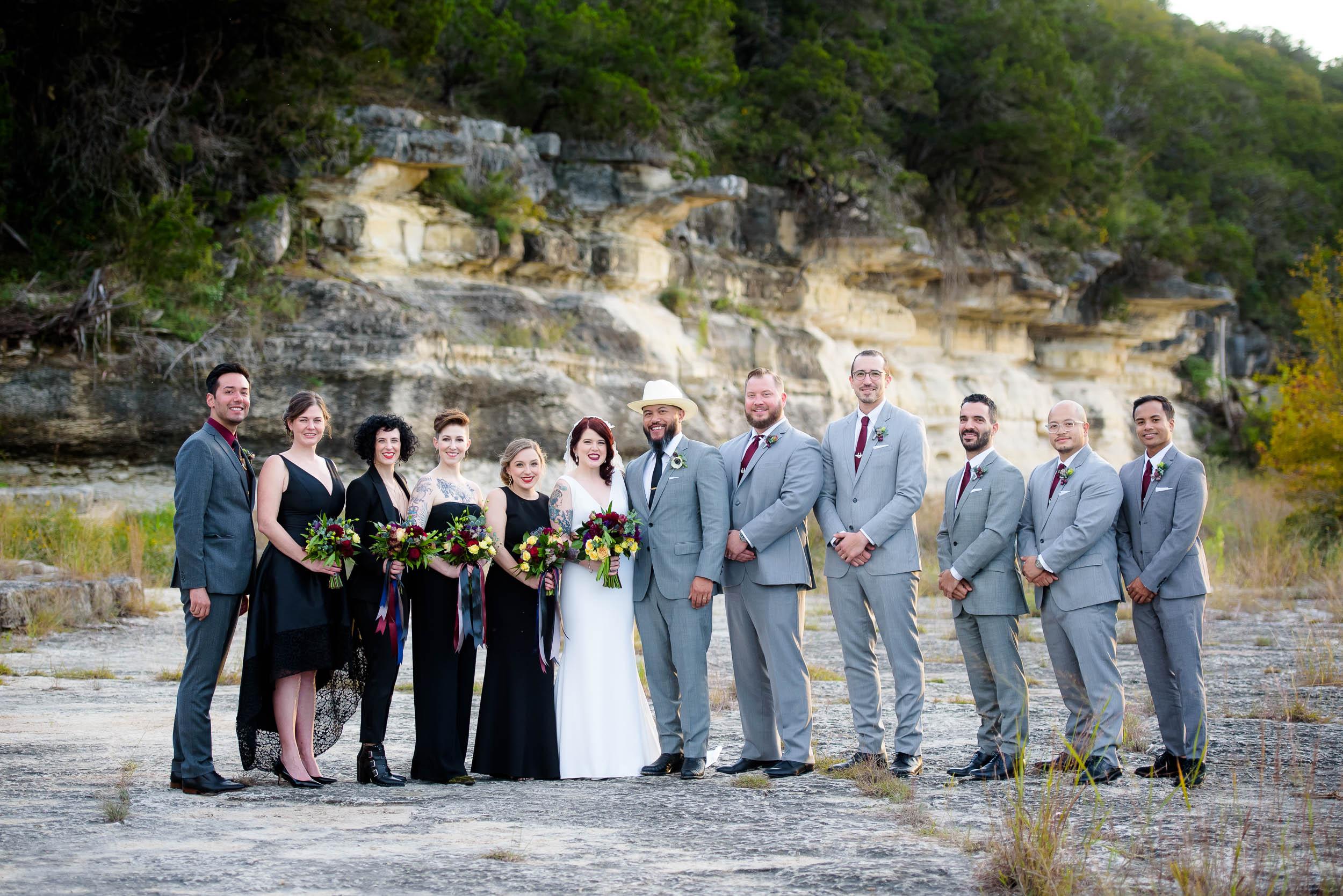 Wedding party during a Montesino Ranch wedding Austin, Texas.