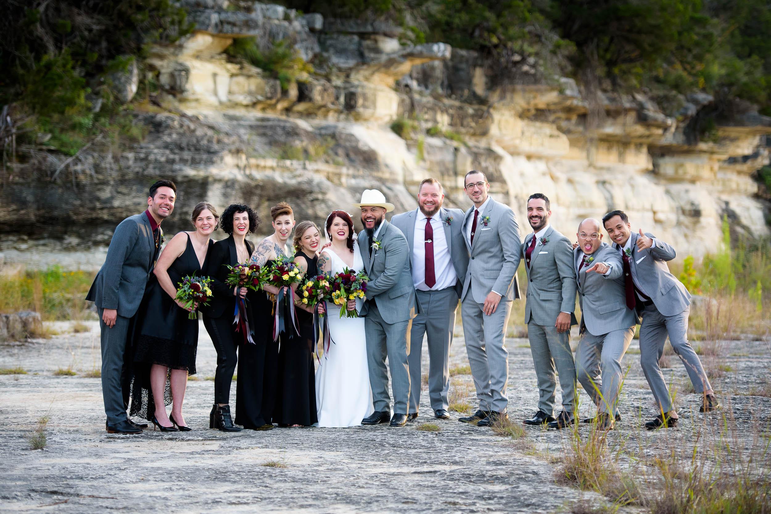 Fun wedding party photo during a Montesino Ranch wedding Austin, Texas.