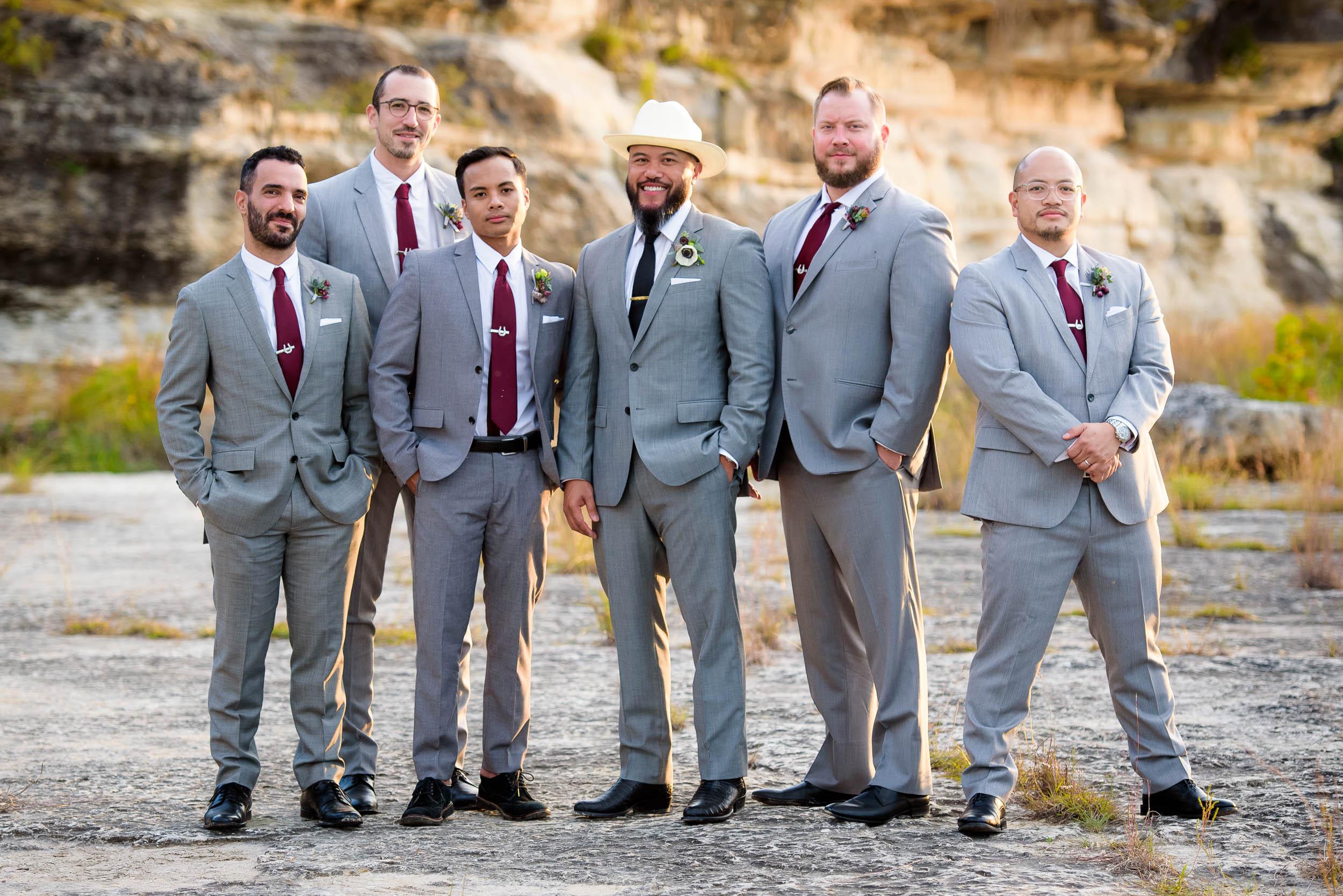 Stylish wedding party during a Montesino Ranch wedding Austin, Texas.