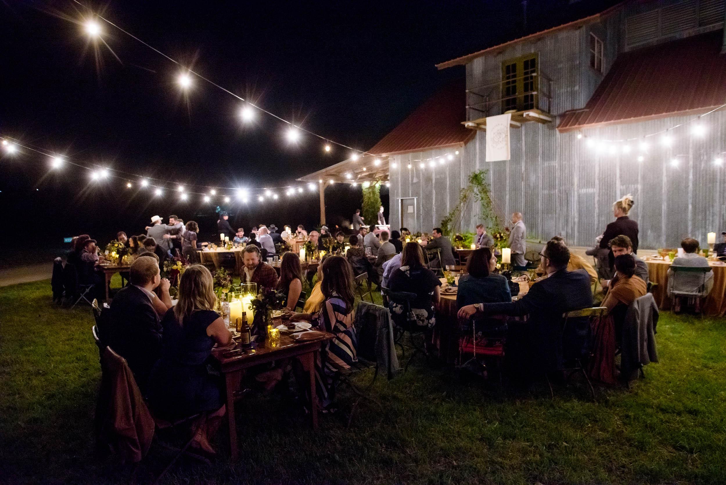 Montesino Ranch wedding reception dinner Austin, Texas.