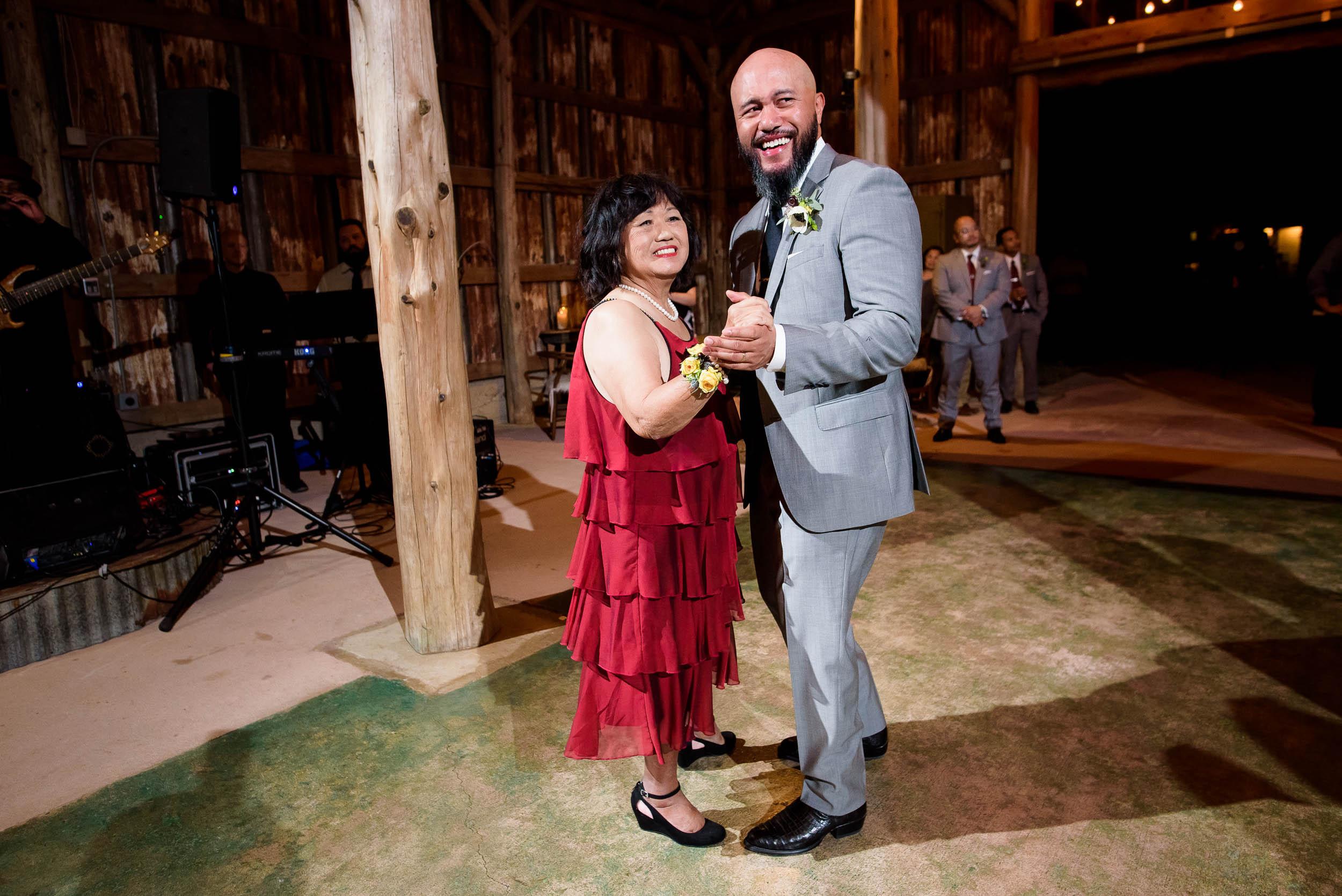 Mother son dance during a Montesino Ranch wedding Austin, Texas.