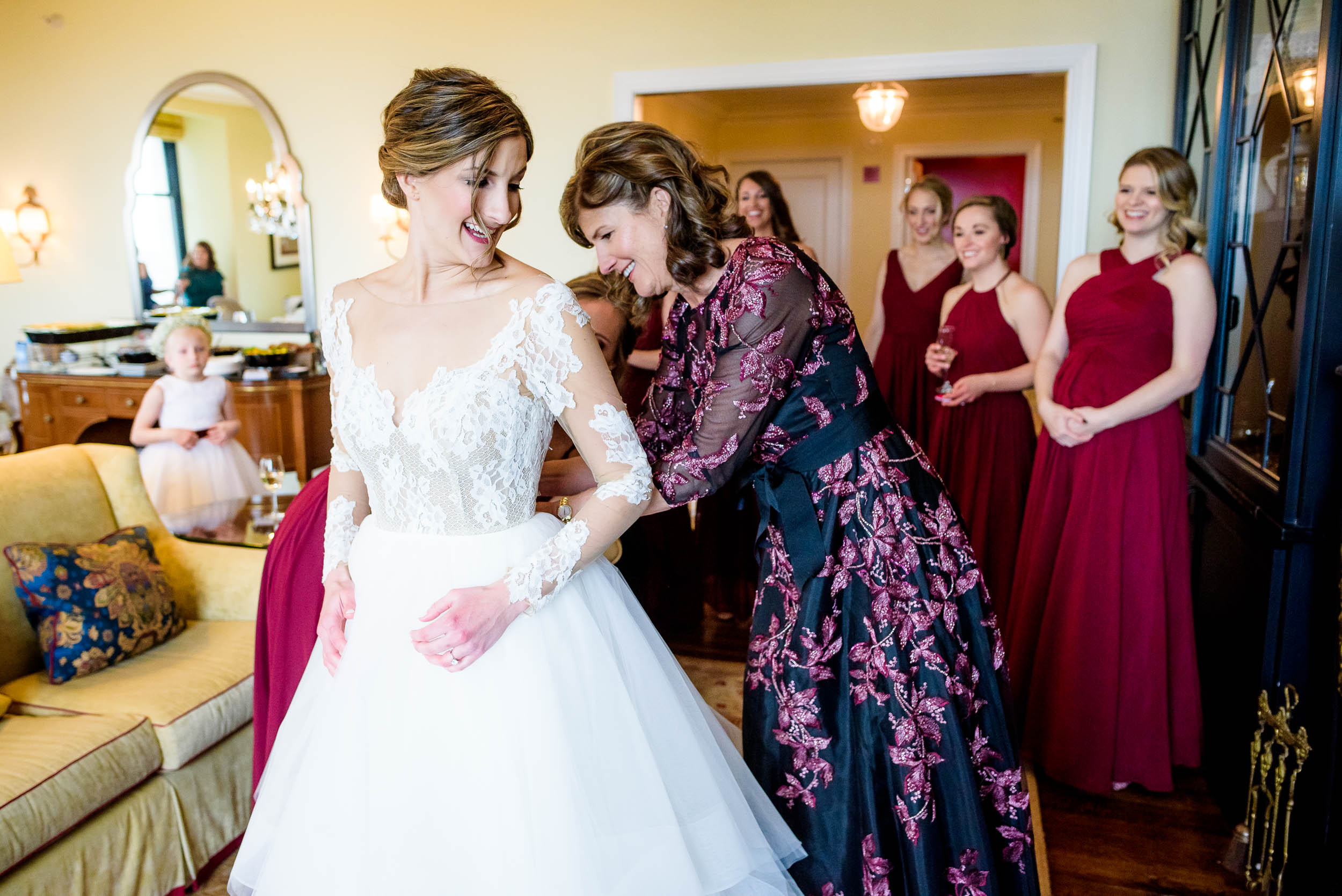 Bride and mom getting ready during a Blackstone Chicago wedding.