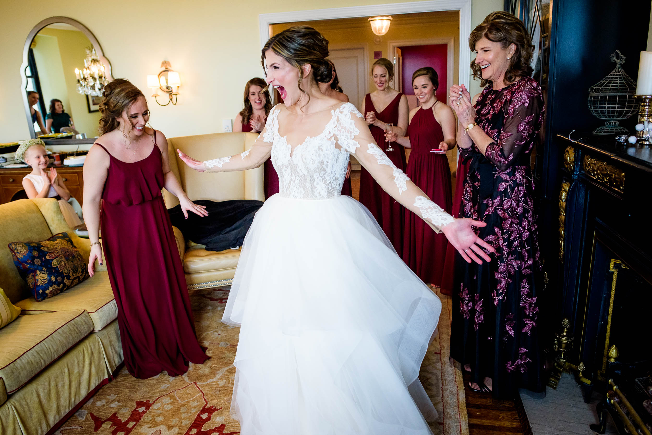 Bride loves her wedding dress during a Blackstone Chicago wedding.
