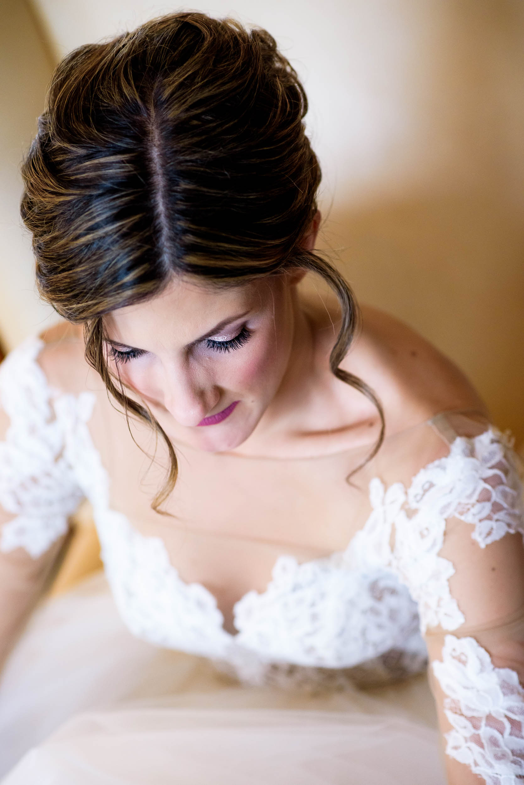 Bride getting ready during a Blackstone Chicago wedding.