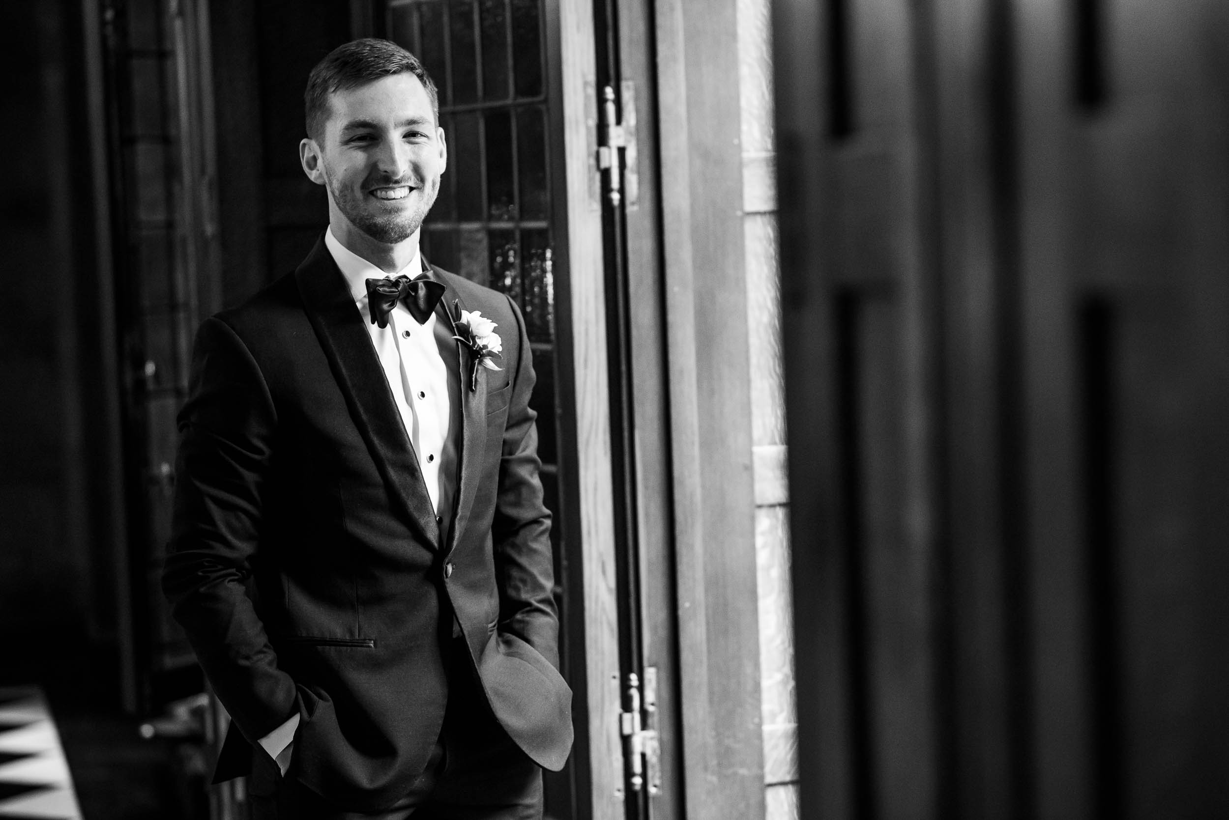 Groom ready for the ceremony during a Blackstone Chicago wedding.