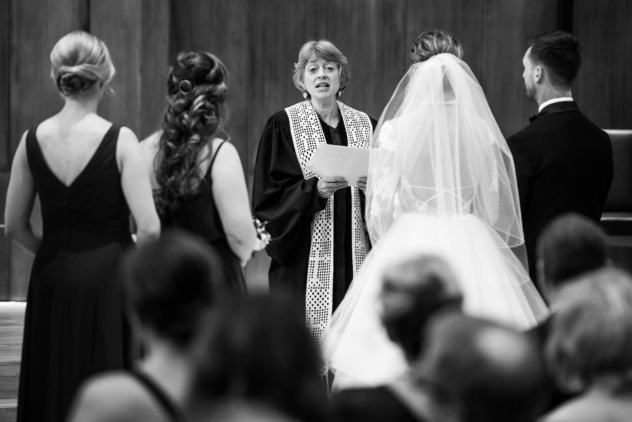 Pastor gives the sermon during a Fourth Presbyterian Church wedding.