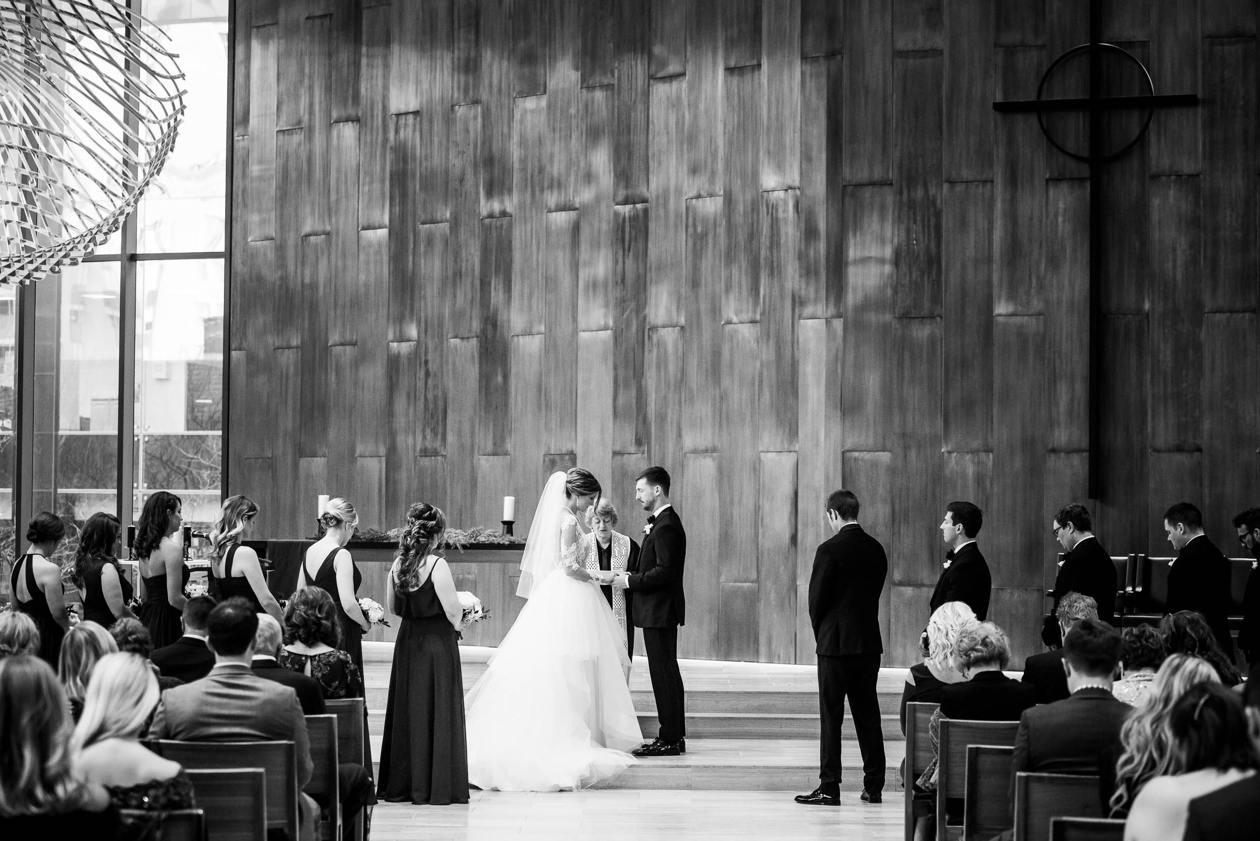 Final vows during a Fourth Presbyterian Church wedding.