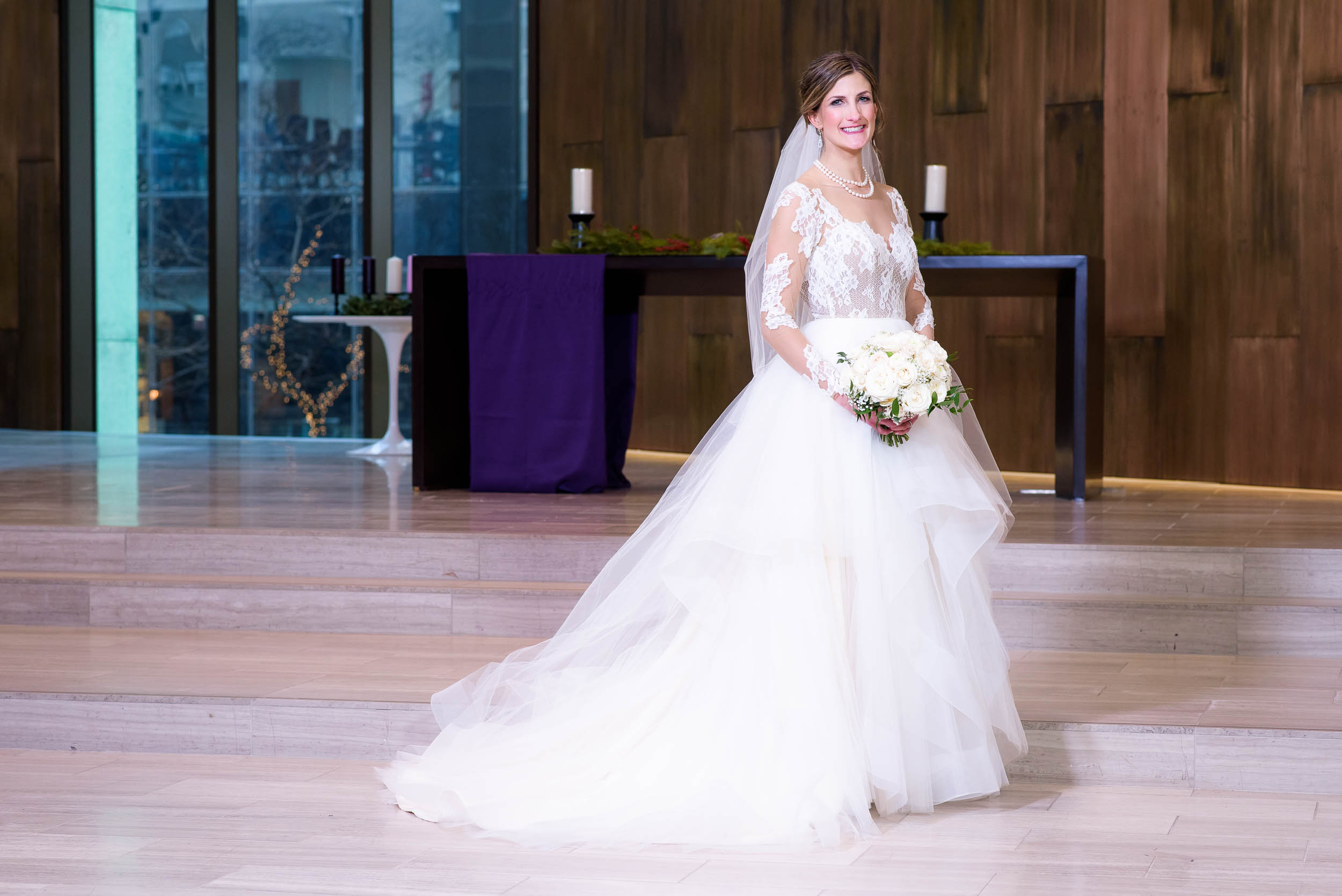 Bride portrait during a Fourth Presbyterian Church wedding.