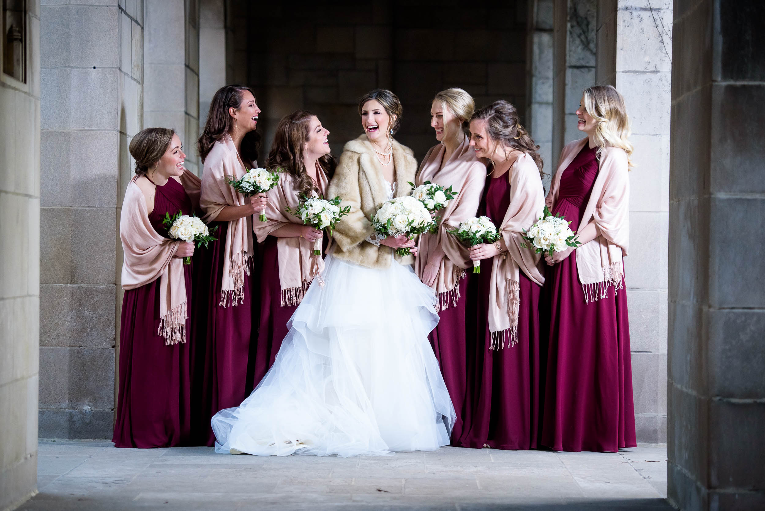 Bridesmaids during a Fourth Presbyterian Church wedding.