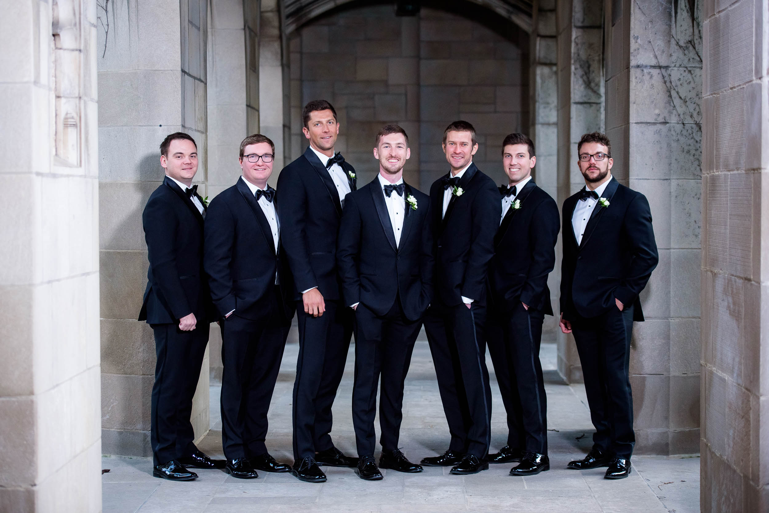 Groomsmen during a Fourth Presbyterian Church wedding.
