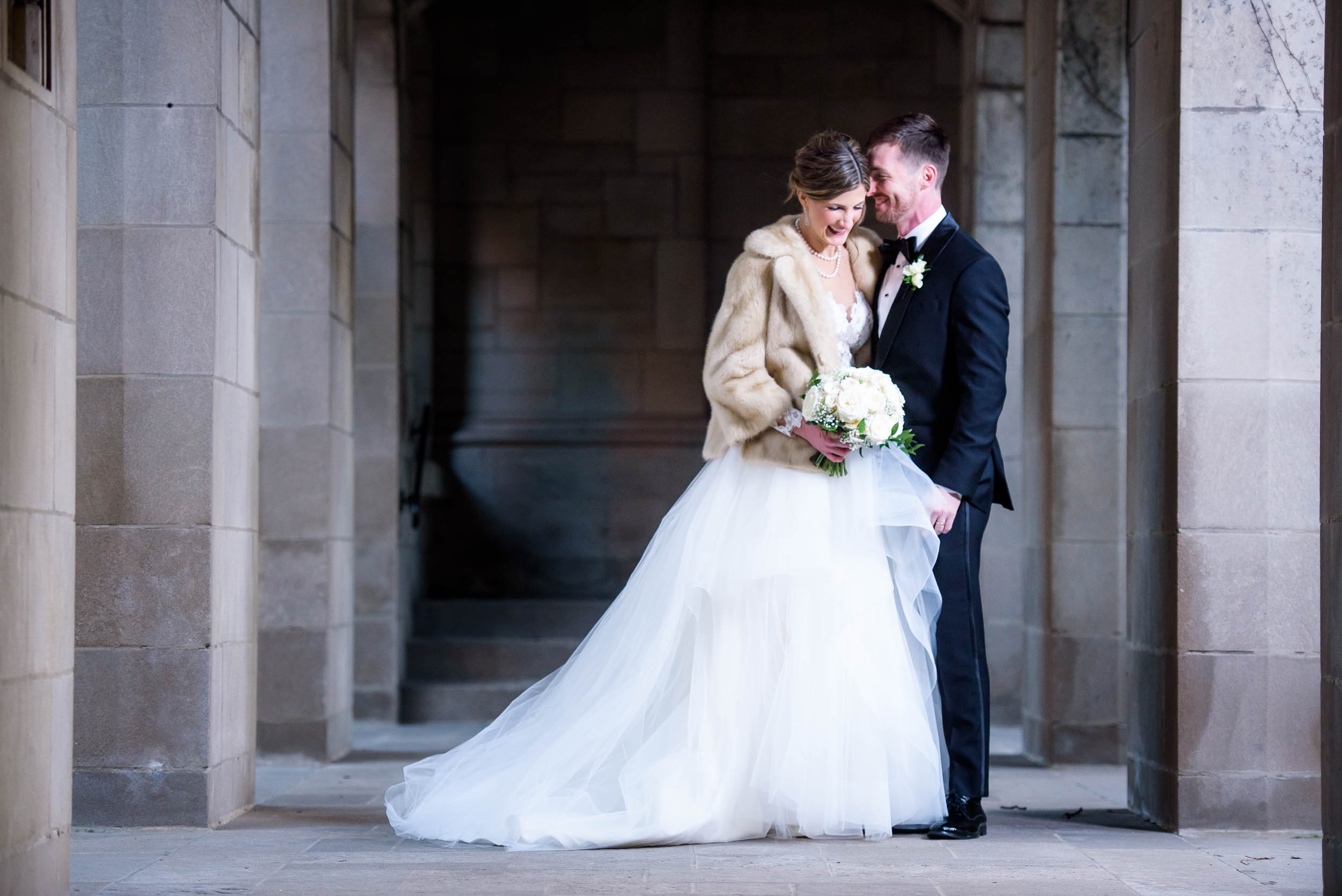 Moment driven portrait of bride and groom during a Fourth Presbyterian Church wedding.
