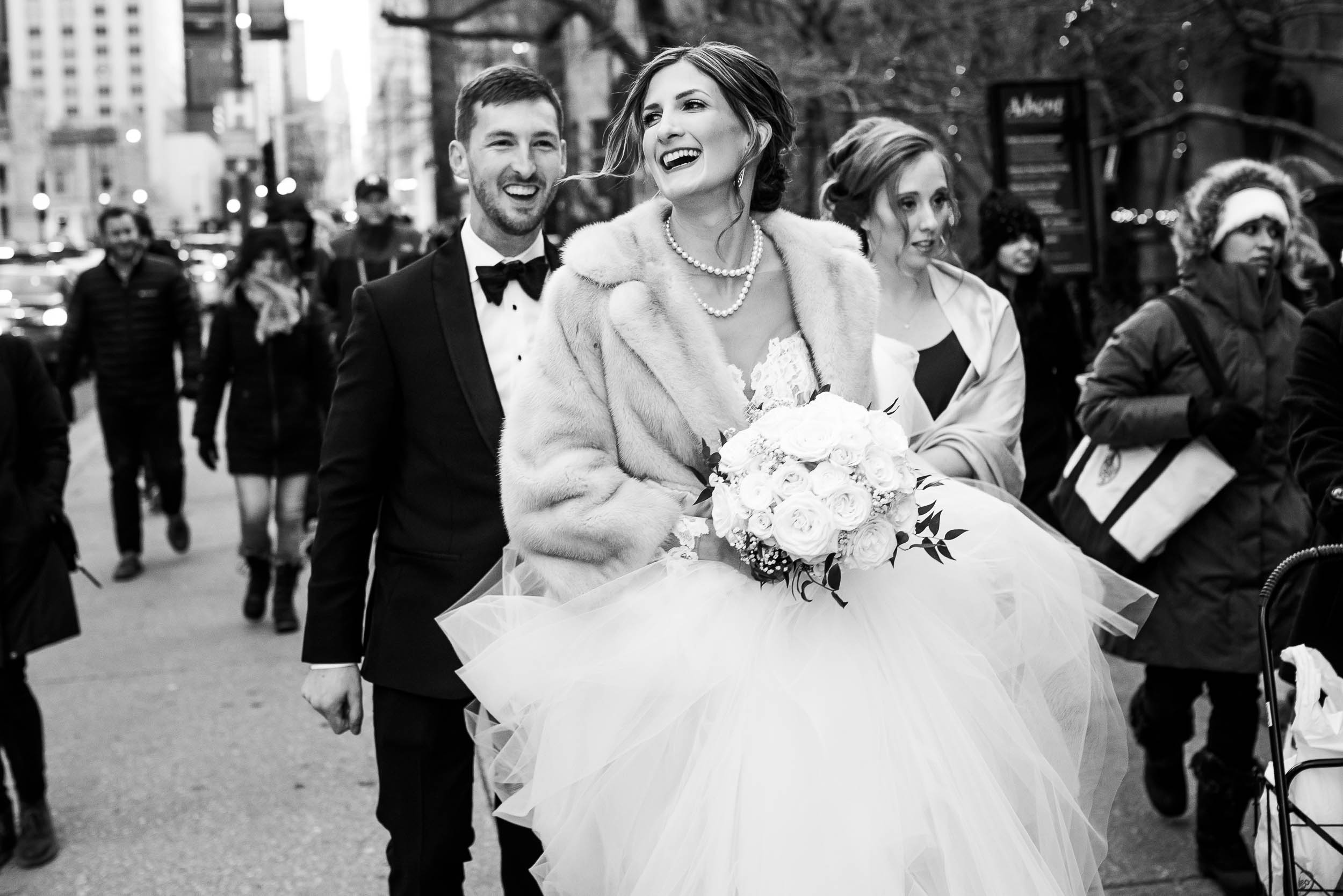 Fun photo of the couple during a Fourth Presbyterian Church wedding.