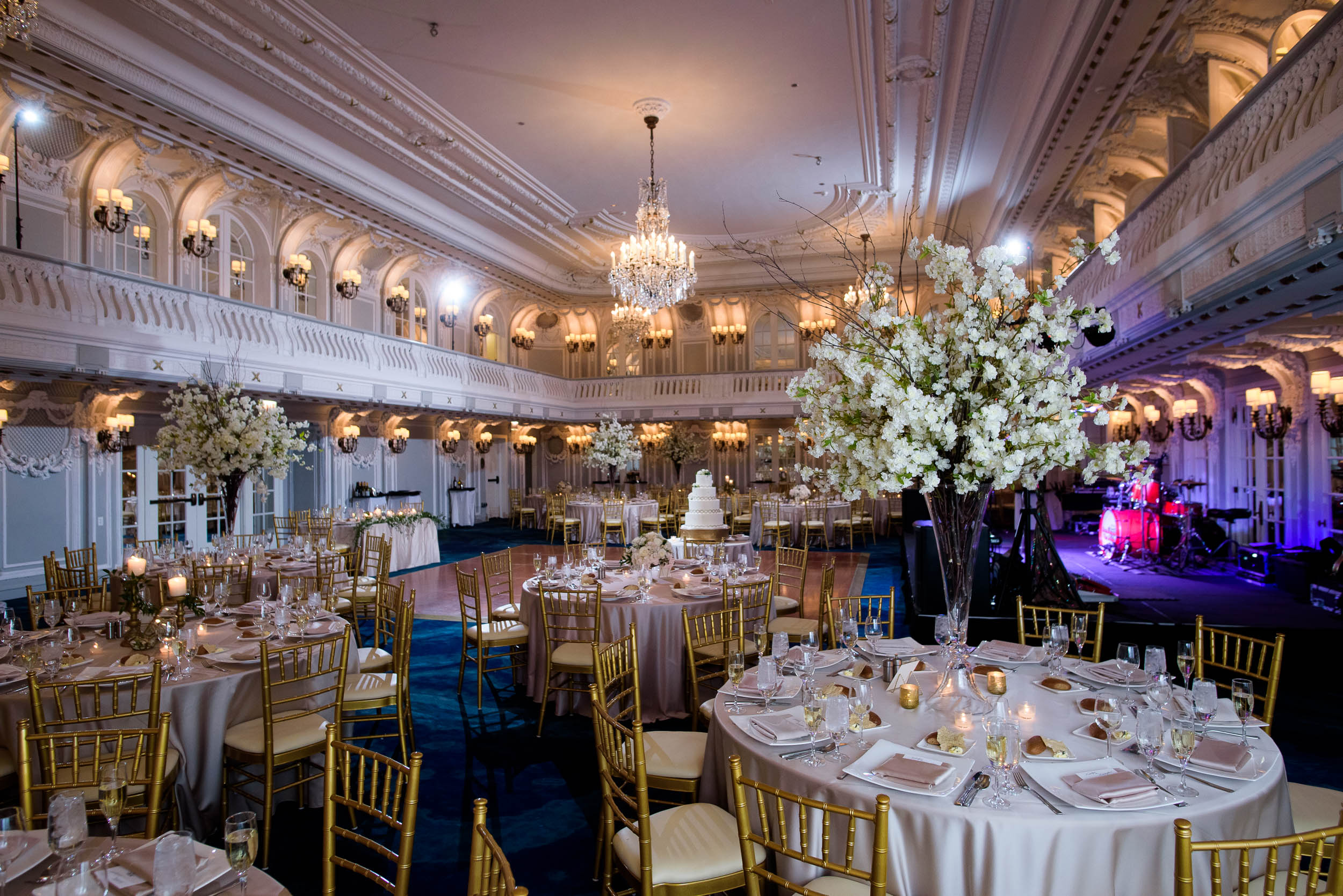 Ballroom during a Blackstone Chicago wedding.