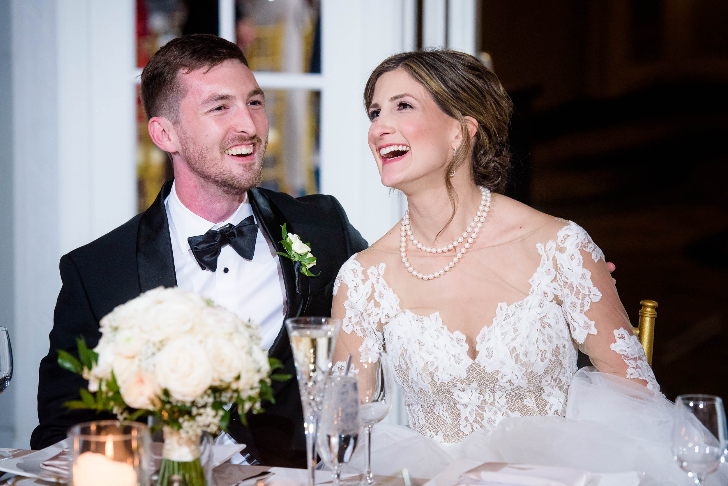 Bride and groom all smiles during a Blackstone Chicago wedding.