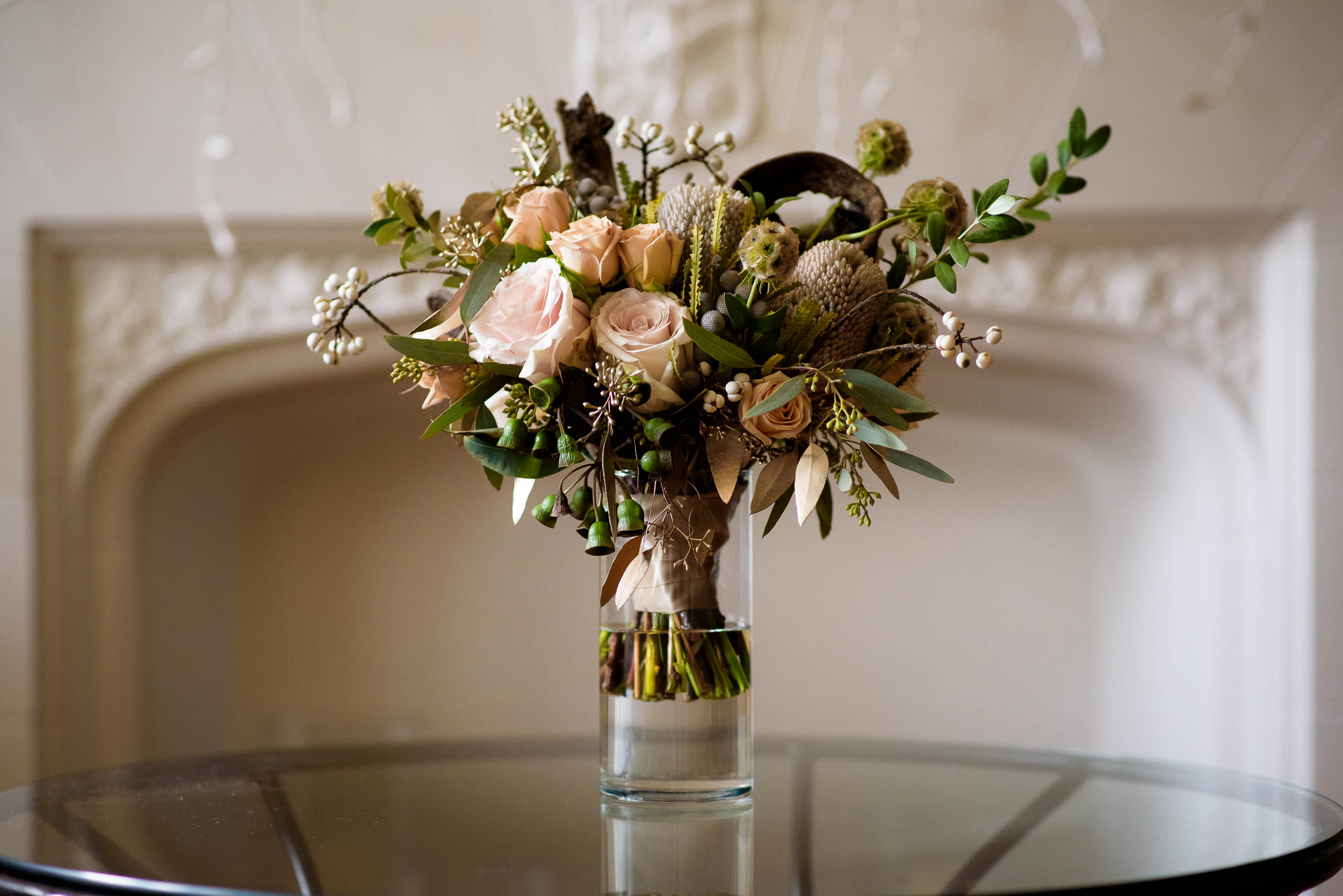Bridal bouquet by Gratitude Heart Garden before a Loft on Lake Chicago wedding.