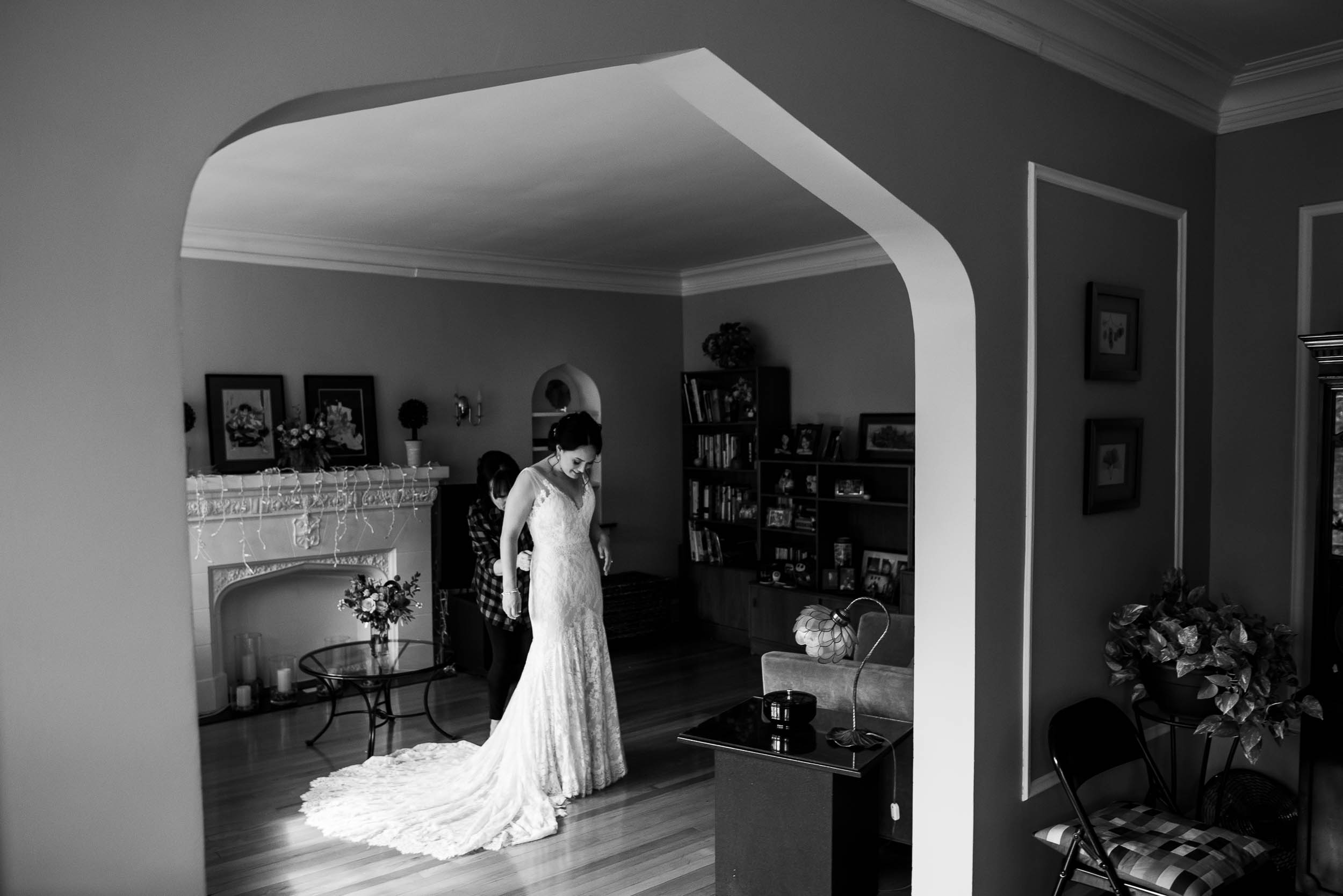 Bride getting ready at her mother's home before her Loft on Lake Chicago wedding.