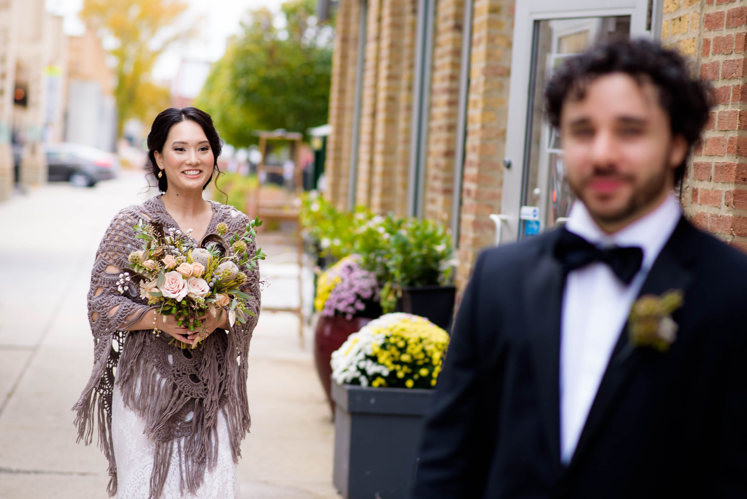 Bride walks to the groom for the first look before their Loft on Lake Chicago wedding.