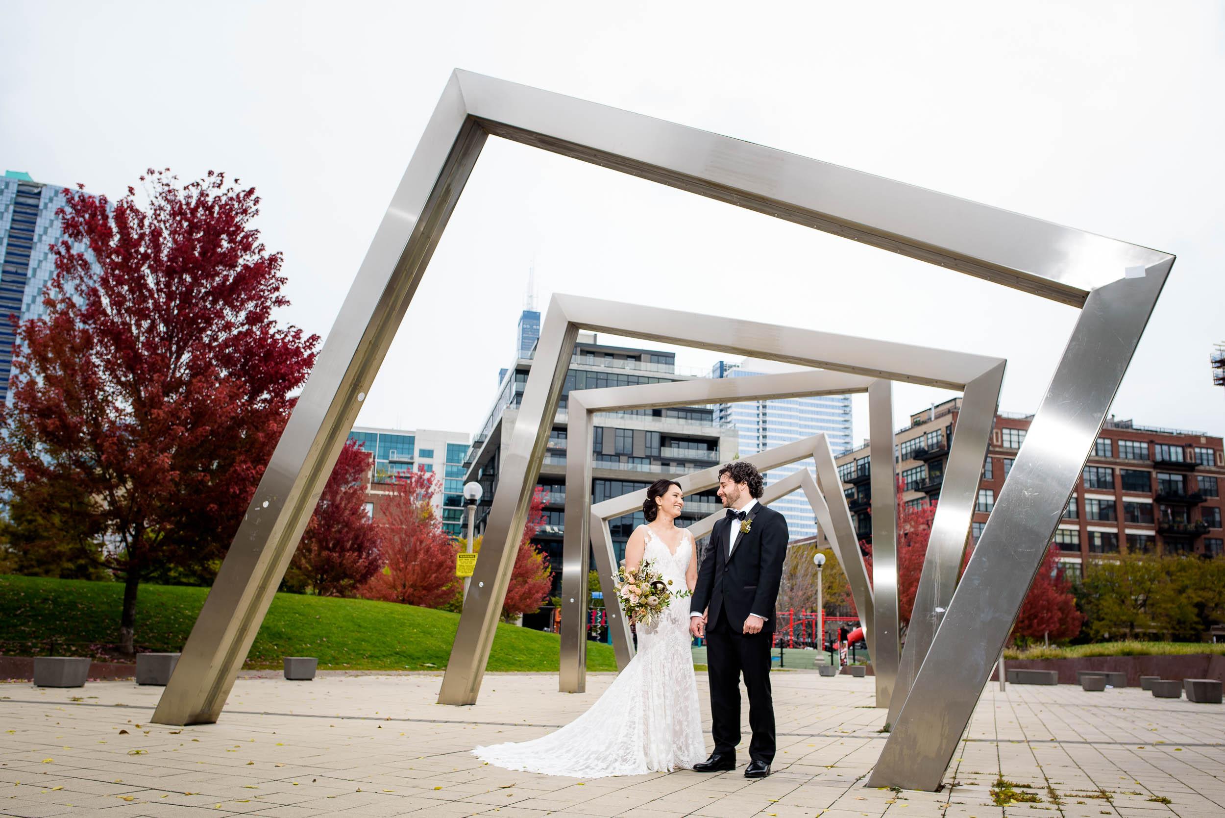 Creative fun wedding photo at Mary Bartelme Park Chicago.