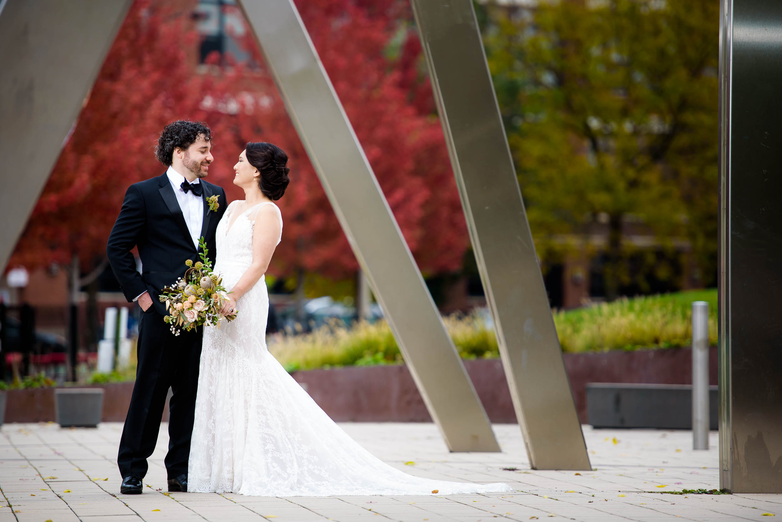 Modern wedding photo of bride and groom at Mary Bartelme Park Chicago.