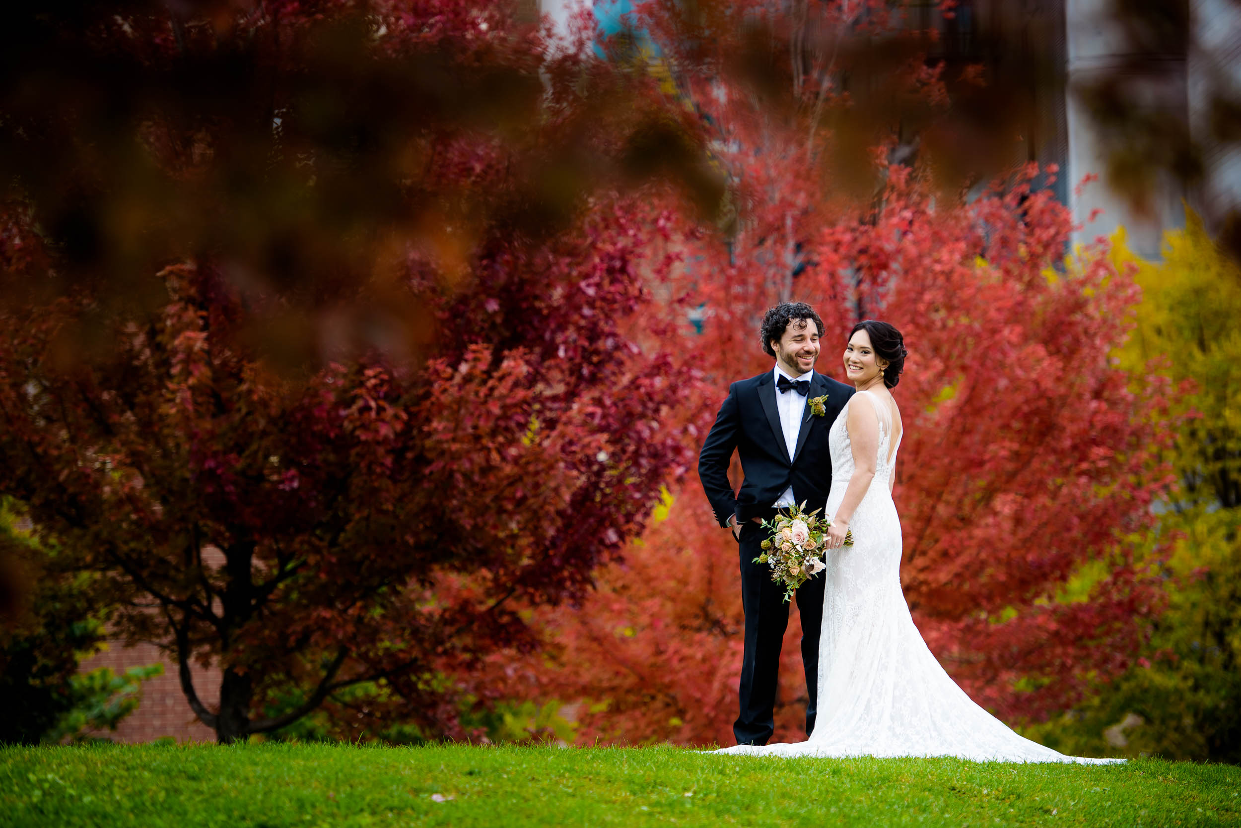 Fall wedding colors portrait at Mary Bartelme Park Chicago.