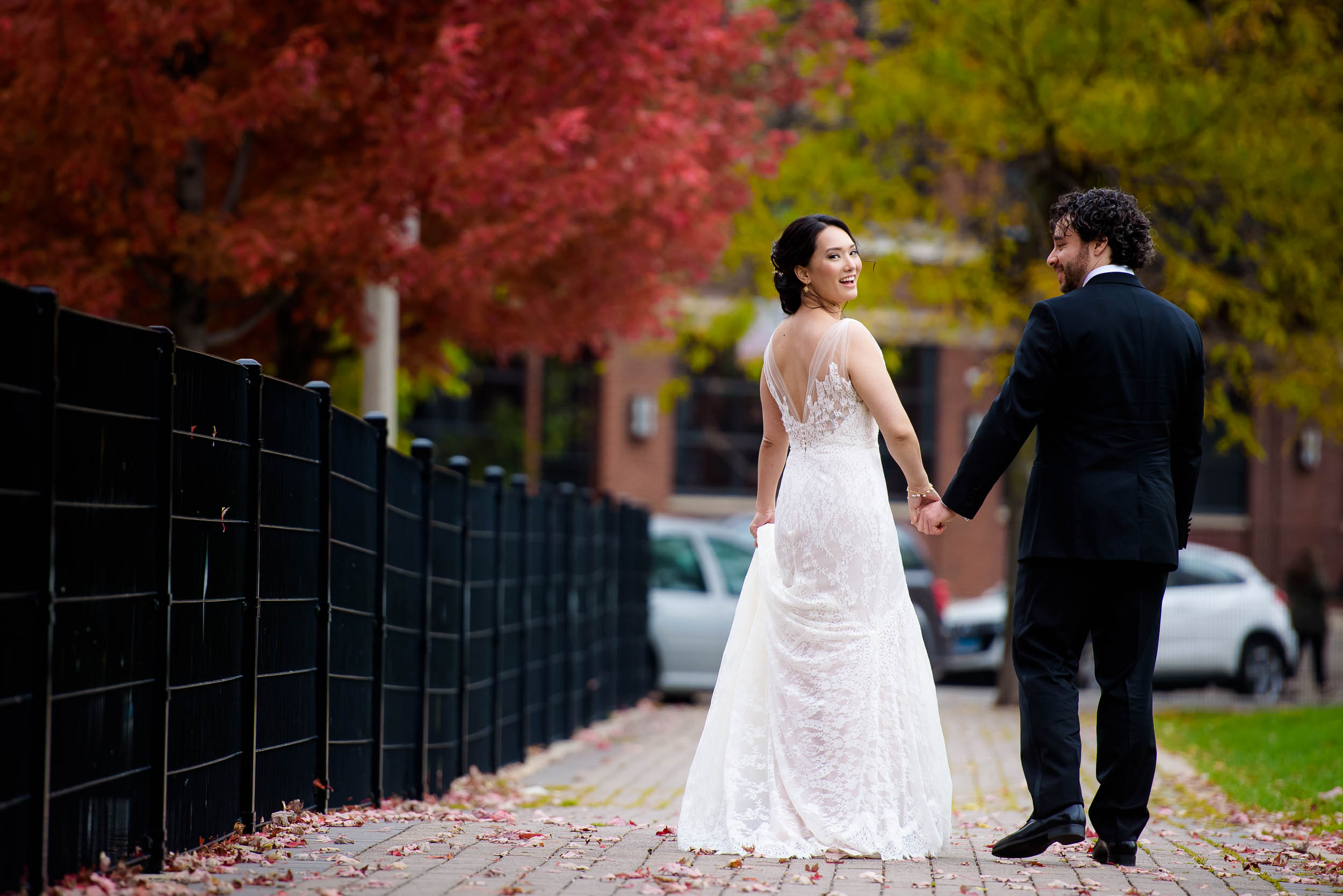 Fun wedding photo of bride and groom at Mary Bartelme Park Chicago.