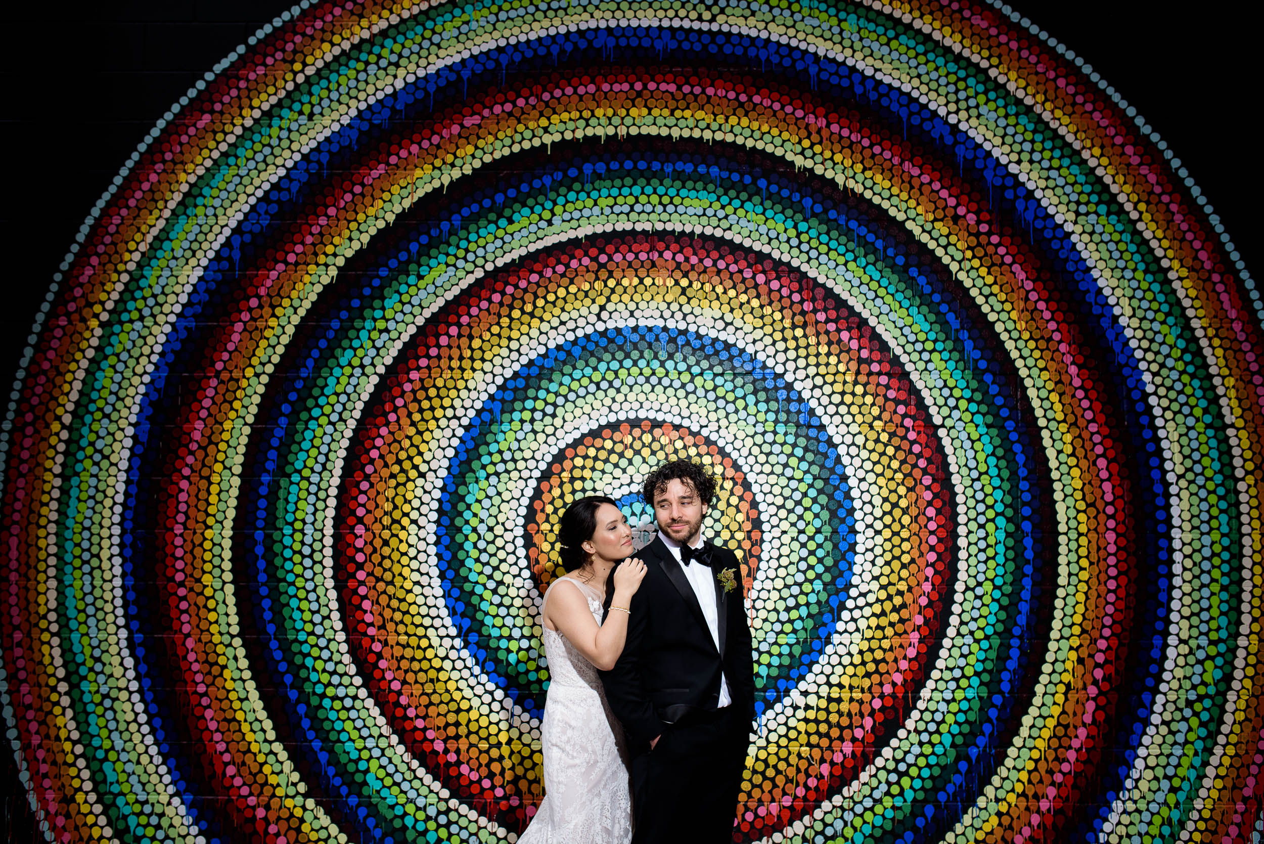 Chicago street art wedding photo before a Loft on Lake Chicago wedding.