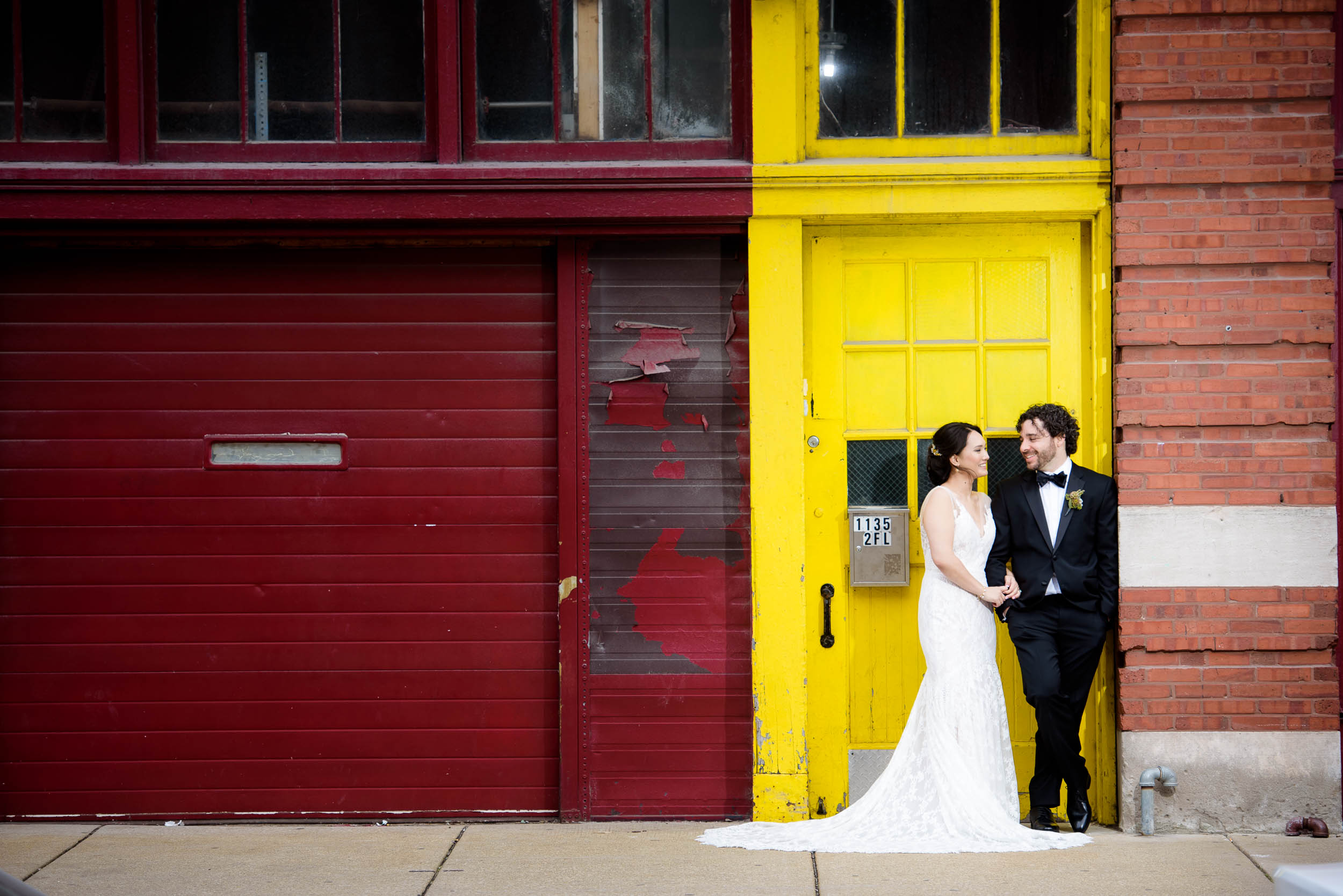 Creative wedding photo outside the Mars Gallery before a Loft on Lake Chicago wedding.