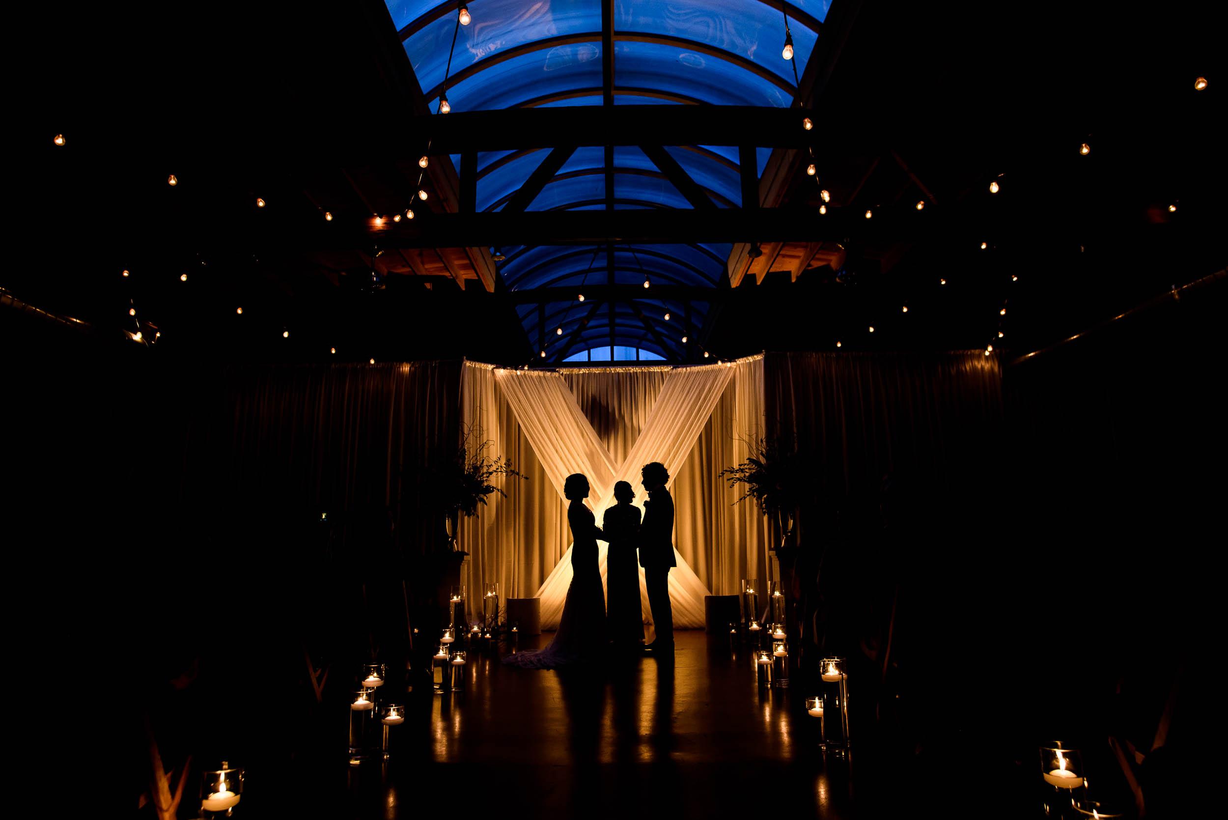 Dramatic ceremony photo during a Loft on Lake Chicago wedding.