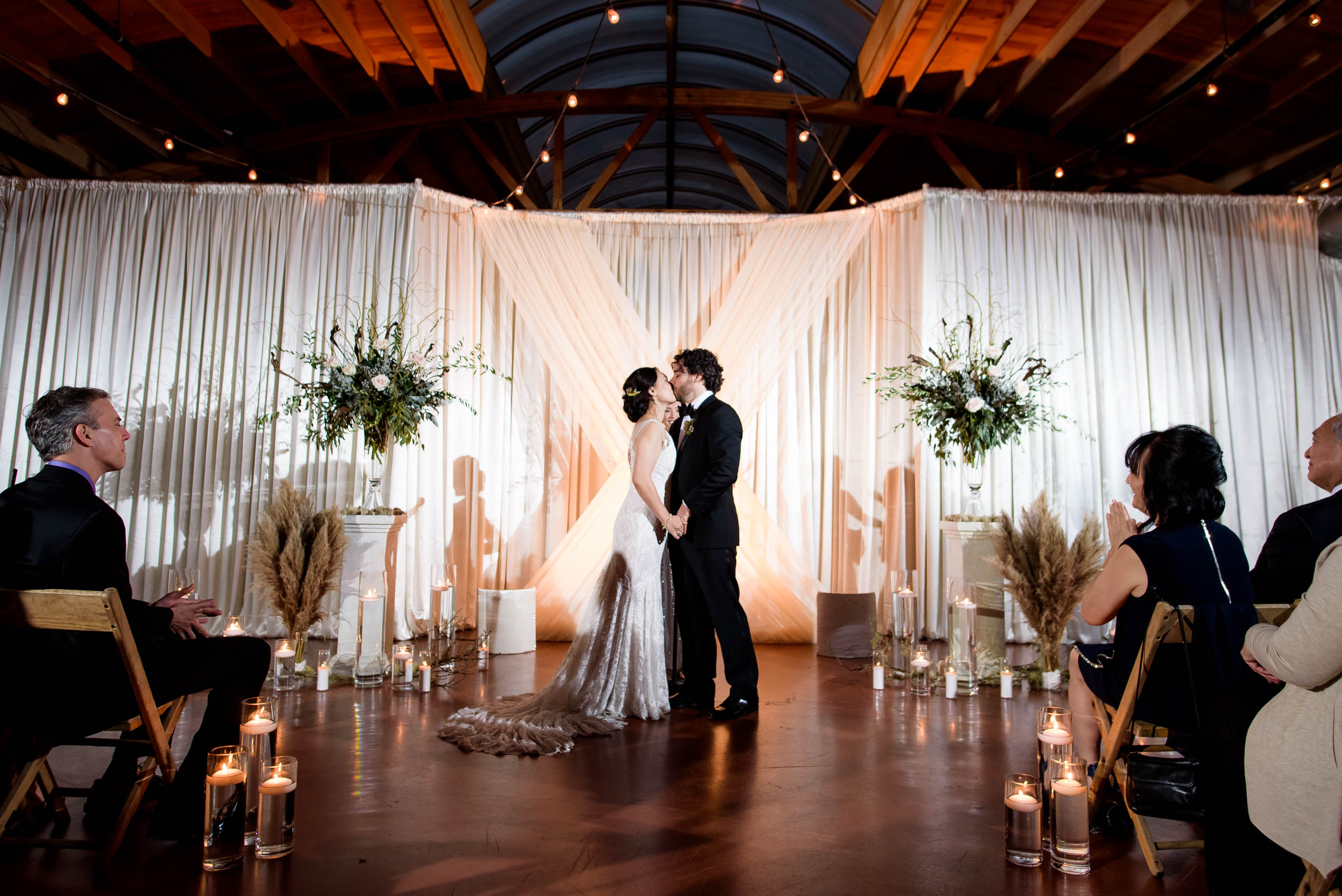 First kiss during a Loft on Lake Chicago wedding.