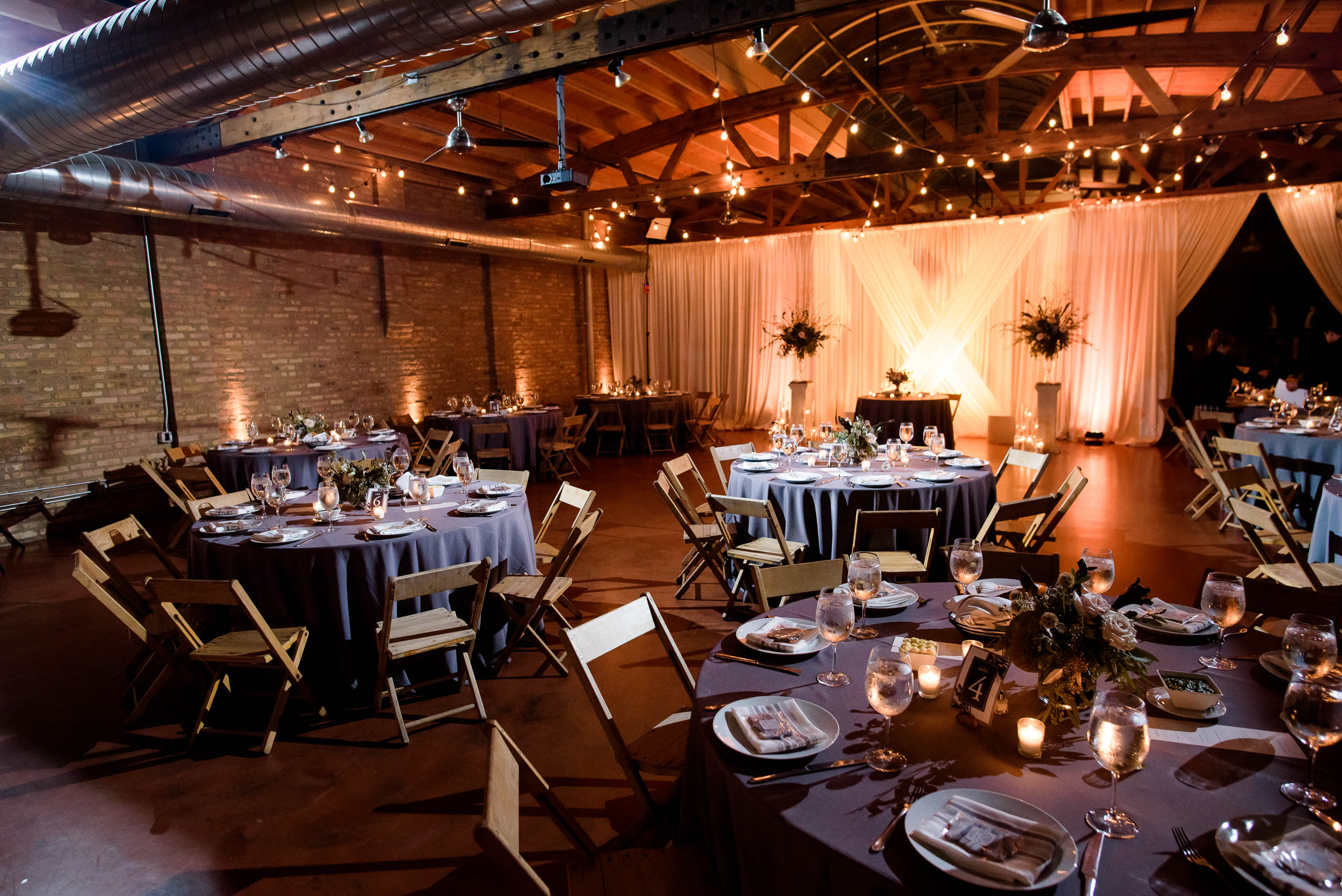 Reception space during a Loft on Lake Chicago wedding.