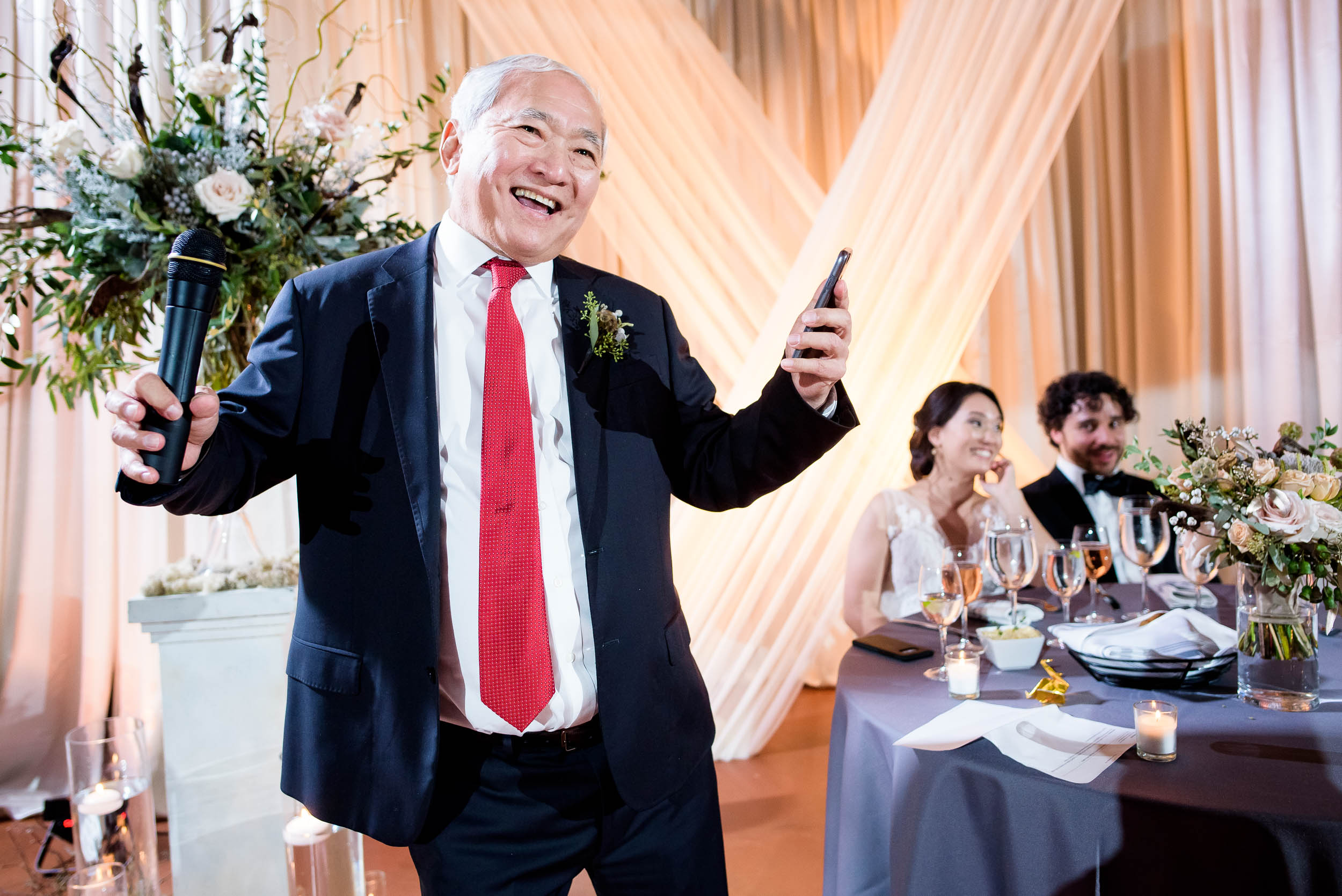 Goofy father of the bride toast during a Loft on Lake Chicago wedding.