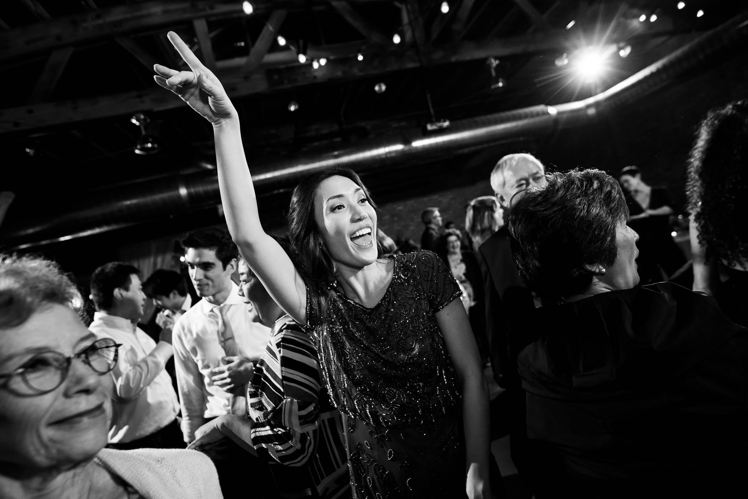 Fun dancing photo during a Loft on Lake Chicago wedding.