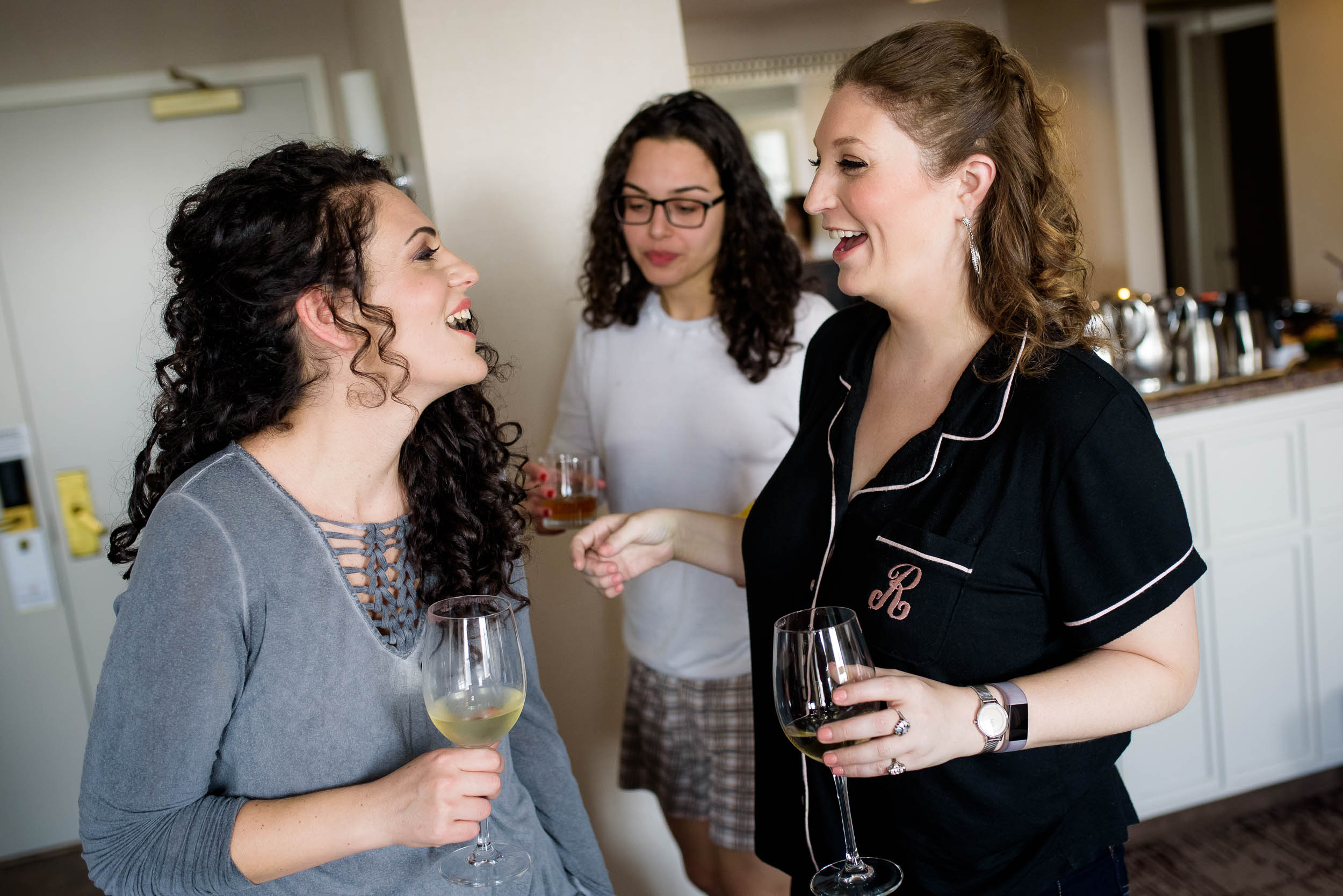 Bride and bridesmaids getting ready during an Independence Grove Chicago wedding.
