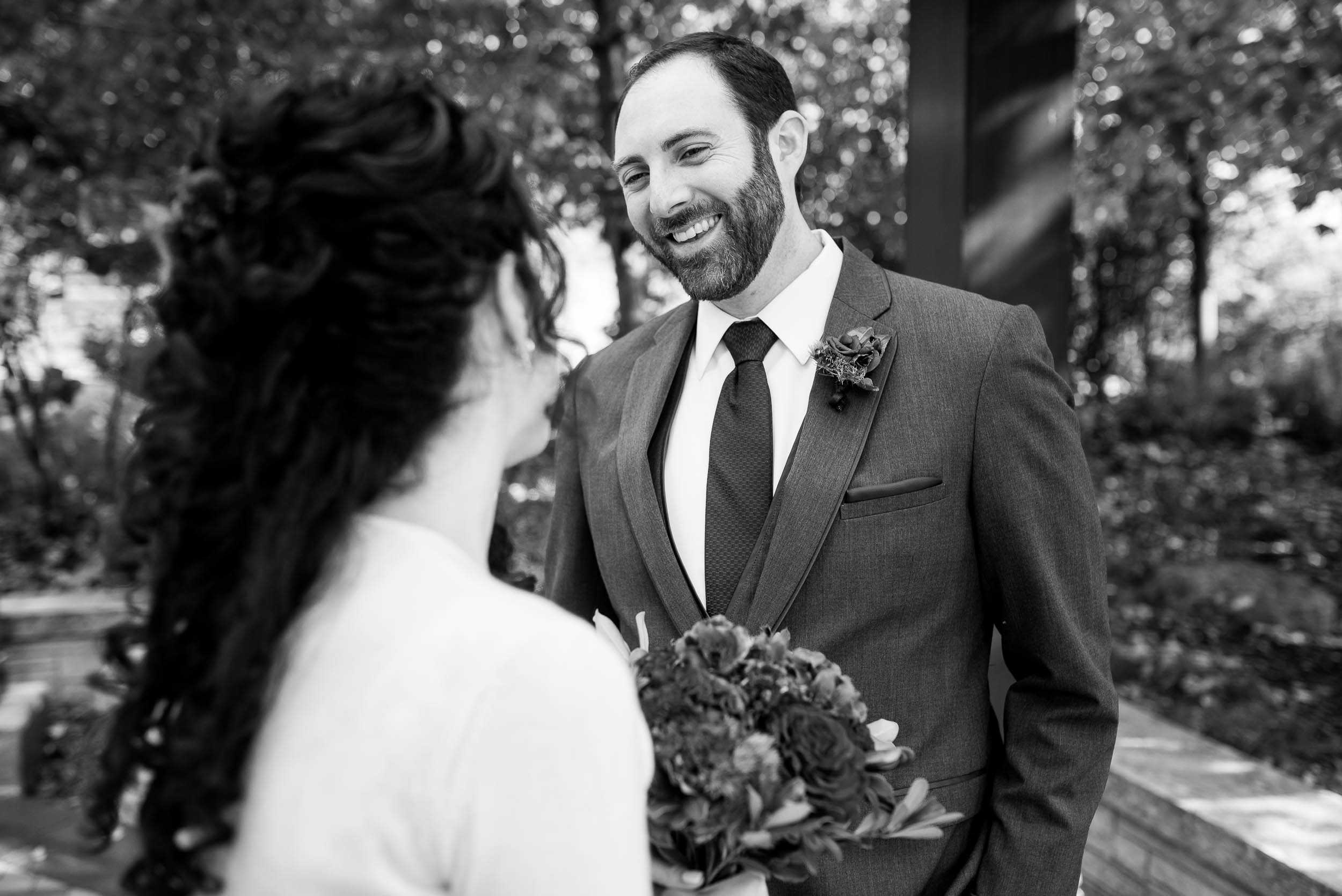 First look moment during an Independence Grove Chicago wedding.