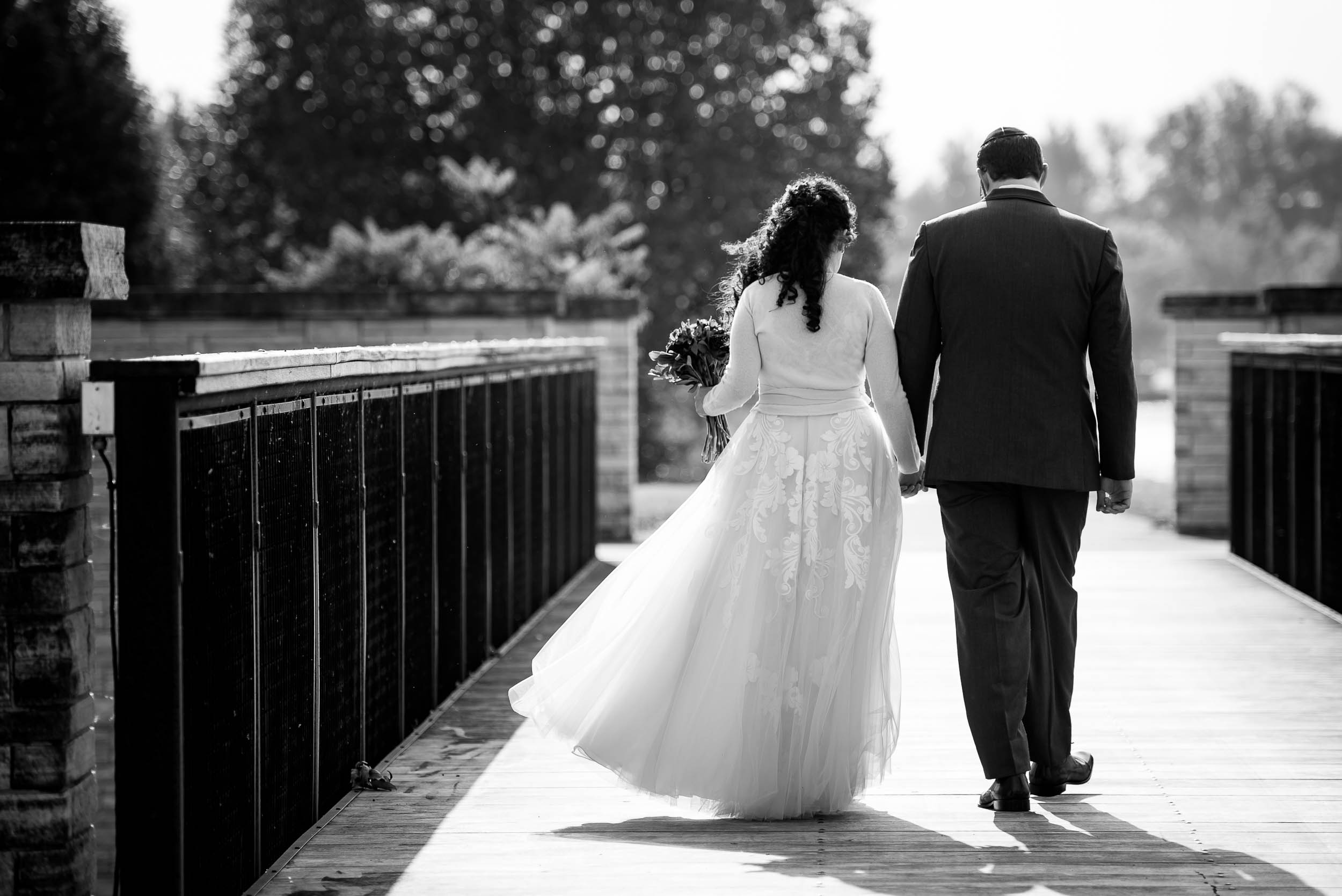 Black and white wedding moment during an Independence Grove Chicago wedding.