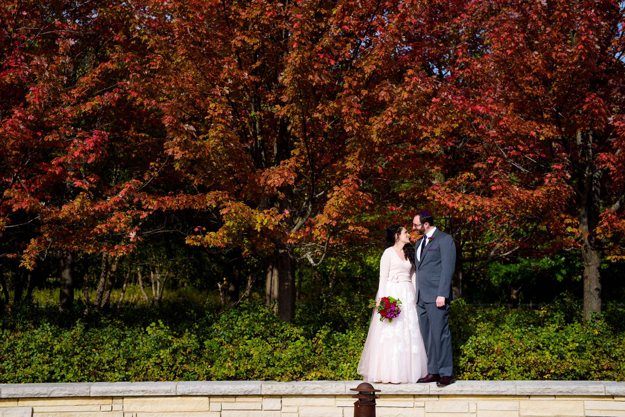 Fall colors wedding day portrait during an Independence Grove Chicago wedding.