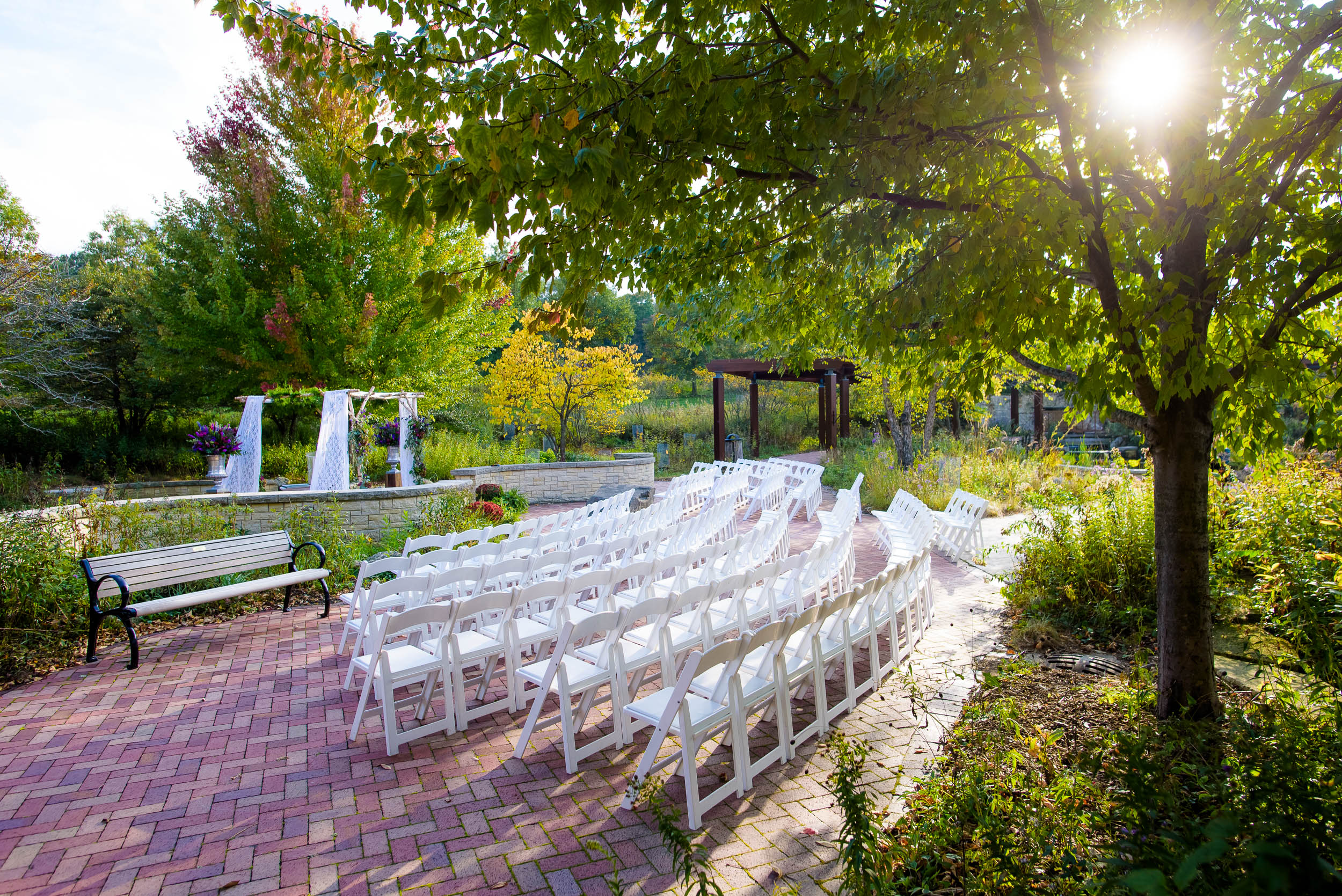 Fall wedding jewish ceremony site during an Independence Grove Chicago wedding.
